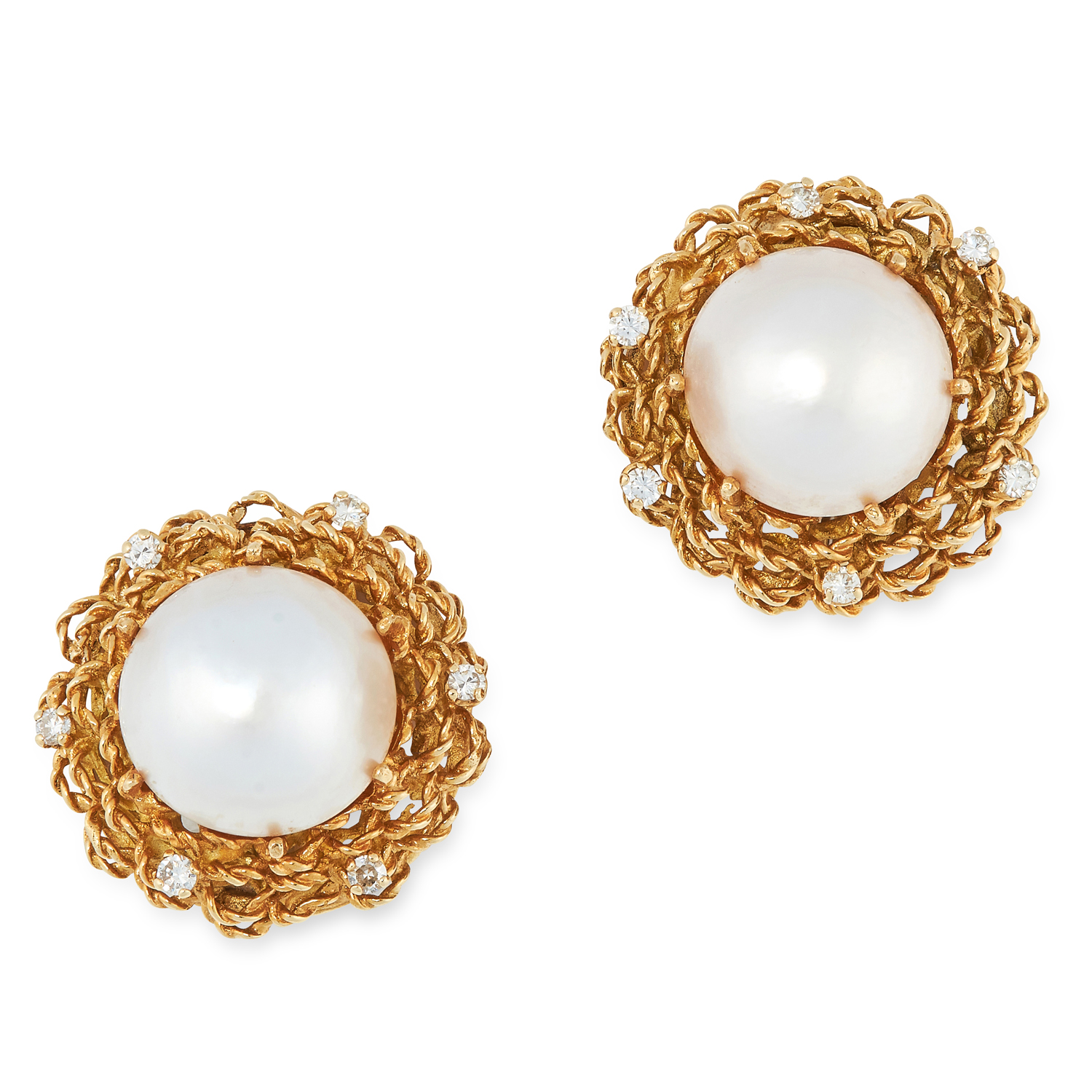 A PAIR OF VINTAGE PEARL AND DIAMOND EARRINGS, 1960s in high carat yellow gold, each set with a