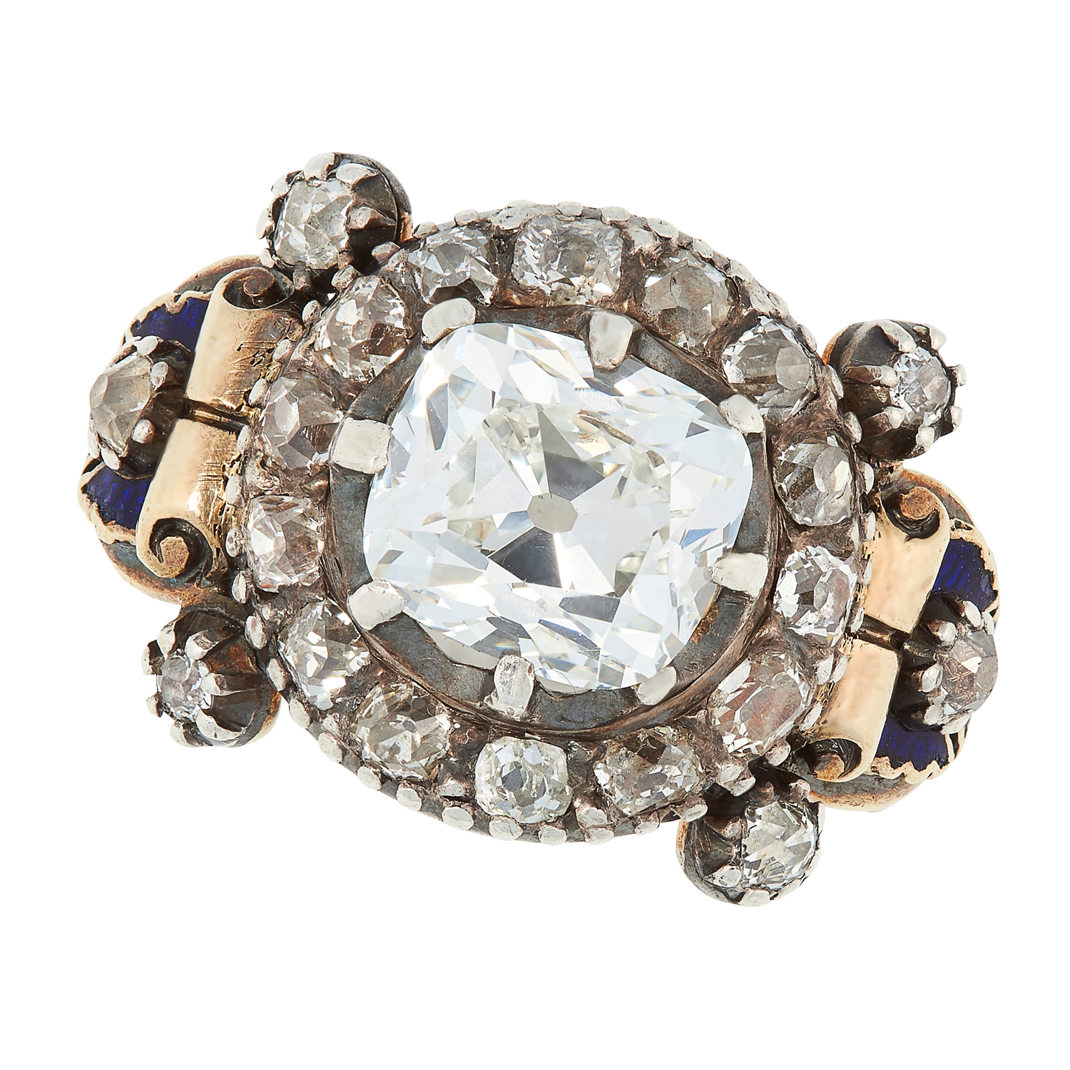 AN ANTIQUE DIAMOND AND ENAMEL RING, 19TH CENTURY in high carat yellow gold and silver, set with an