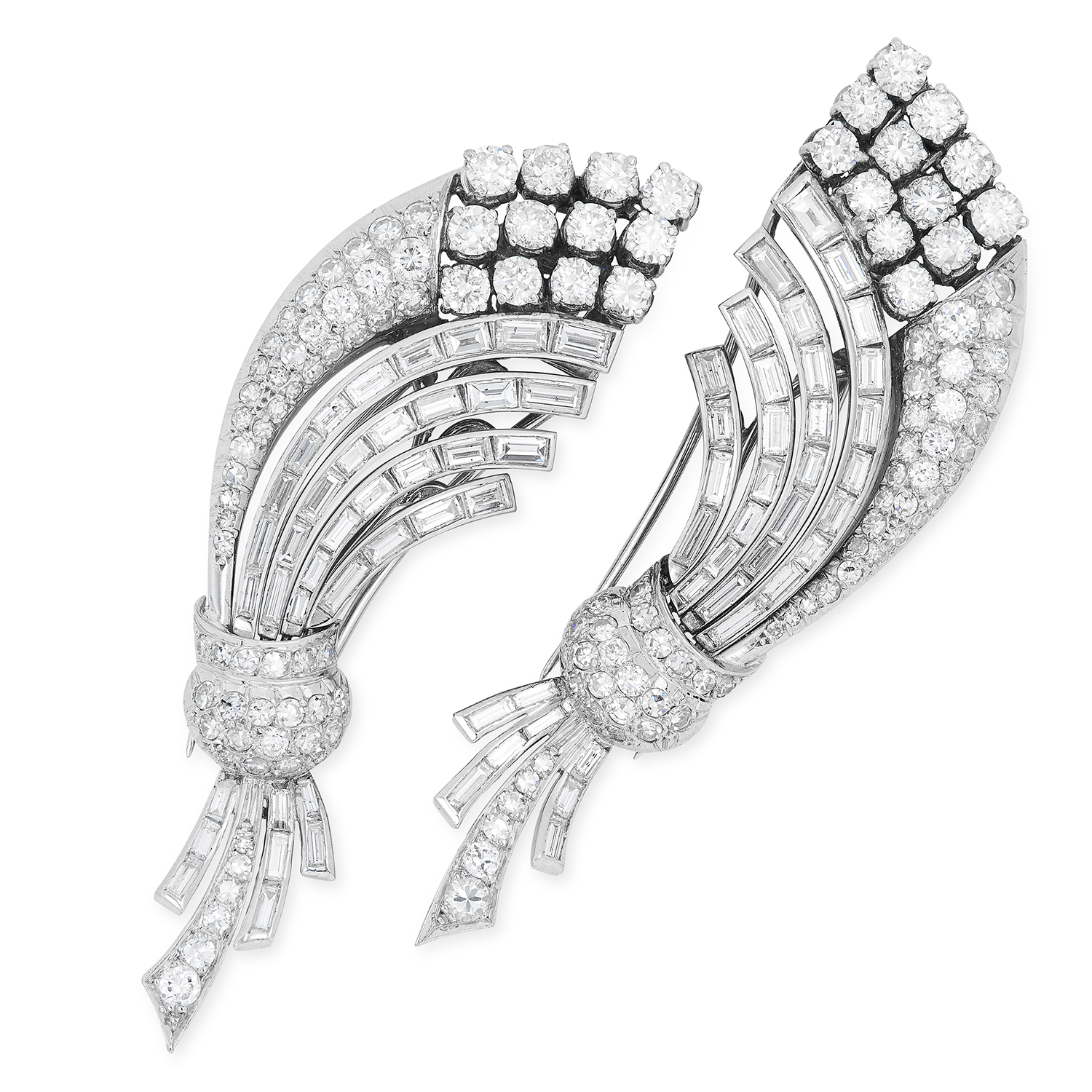 A PAIR OF VINTAGE 18.00 CARAT DIAMOND CLIPS in flower spray design, set with round and baguette - Image 2 of 2