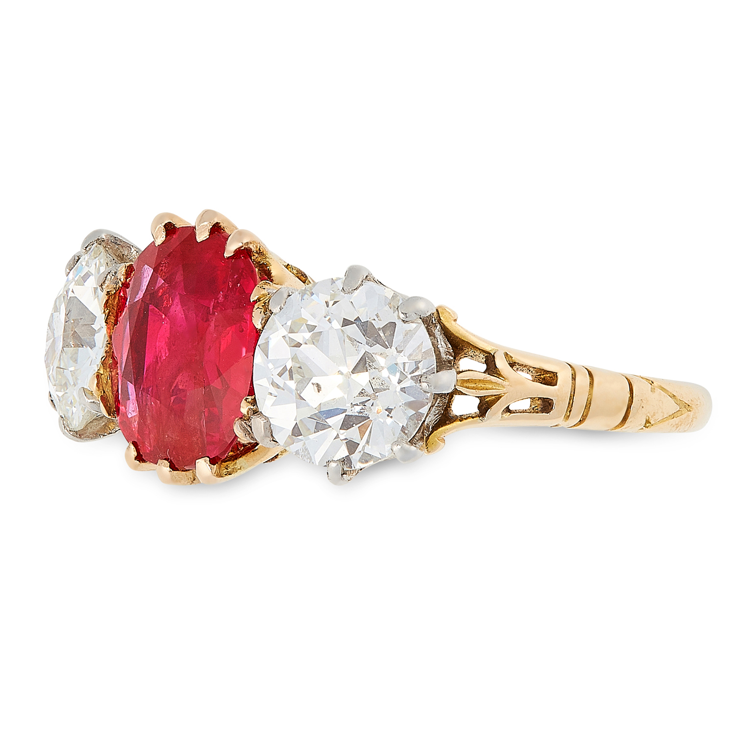 A 1.83 BURMA NO HEAT RUBY AND DIAMOND THREE STONE RING, CIRCA 1950 in 18ct yellow gold and platinum, - Image 2 of 2