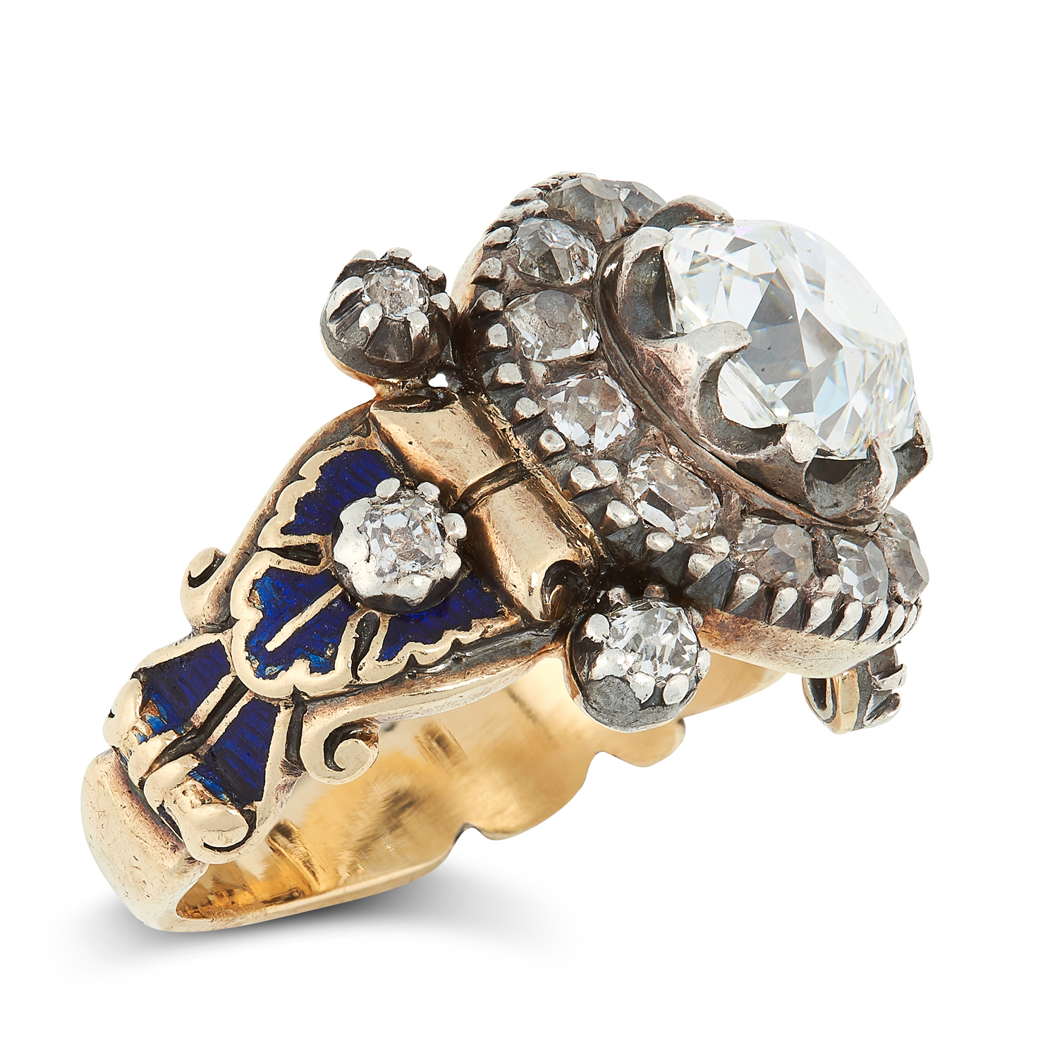 AN ANTIQUE DIAMOND AND ENAMEL RING, 19TH CENTURY in high carat yellow gold and silver, set with an - Image 2 of 2