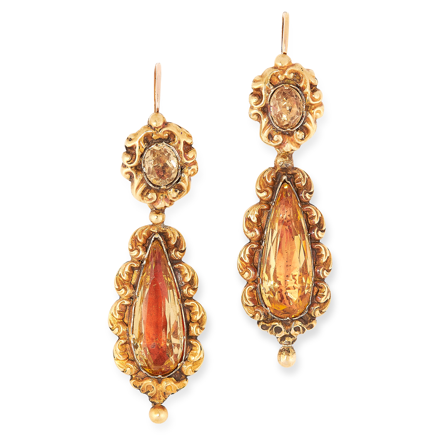 AN ANTIQUE GEORGIAN TOPAZ DEMI PARURE, 19TH CENTURY in high carat yellow gold, each set with oval - Image 3 of 3