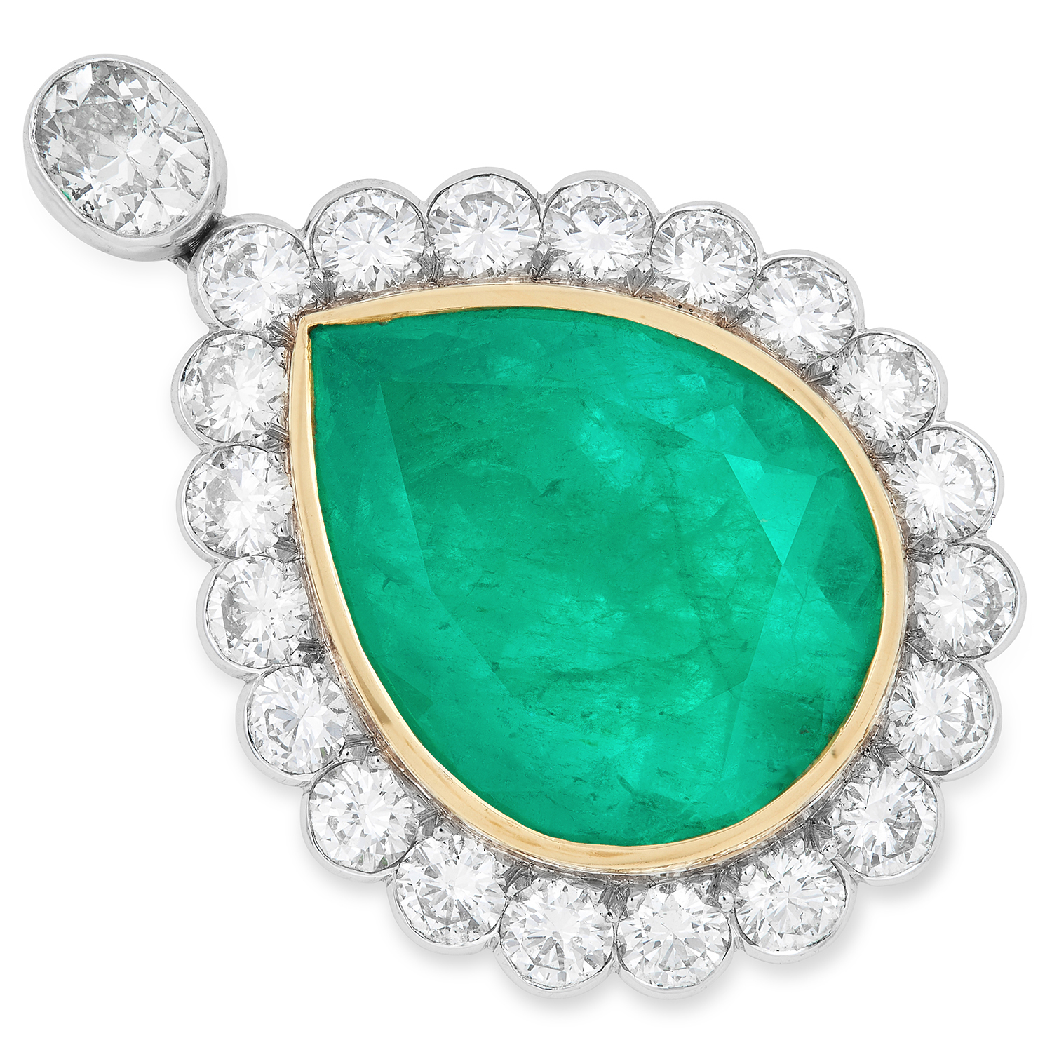 A COLOMBIAN EMERALD AND DIAMOND PENDANT set with a pear cut emerald of 25.81 carats, below an oval