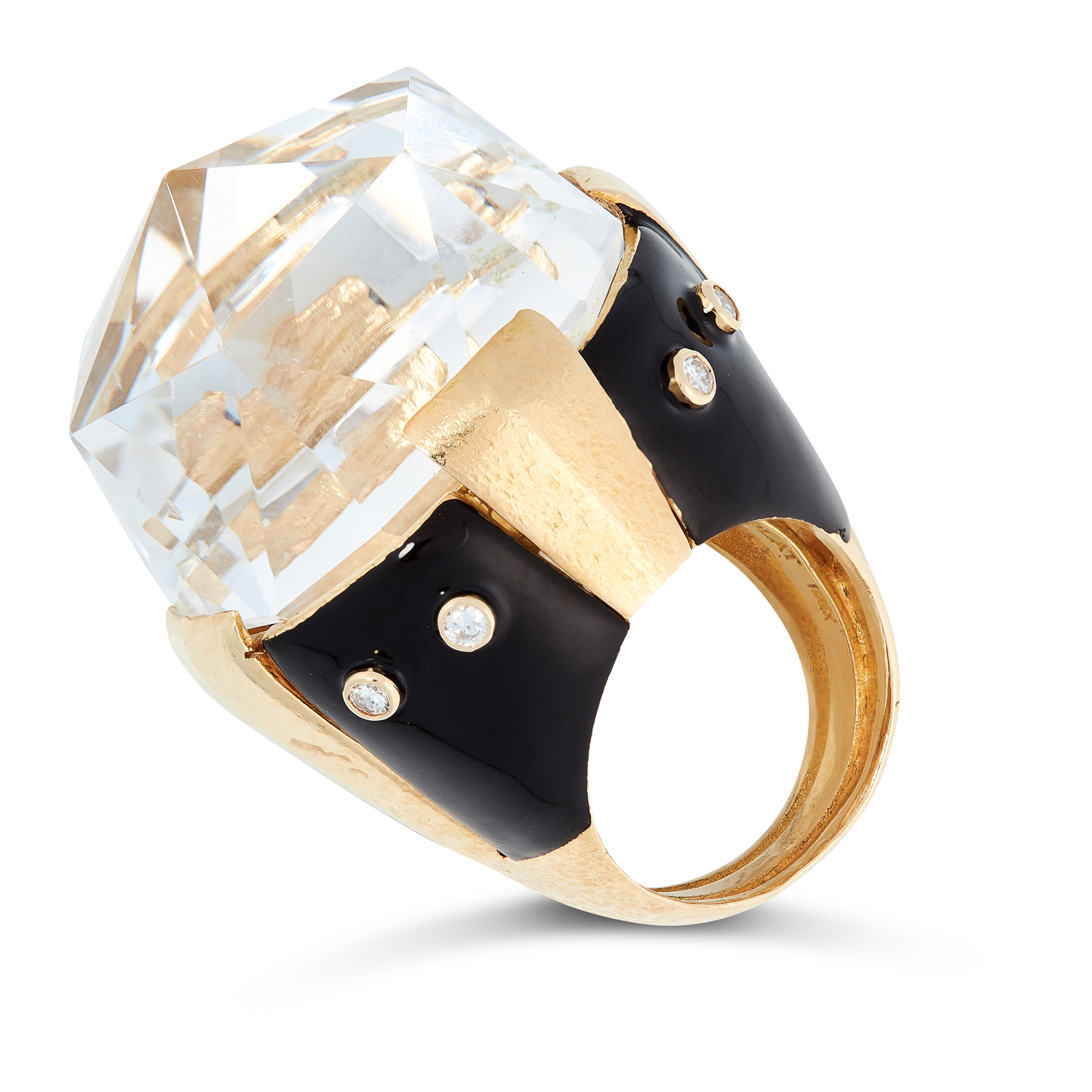 A ROCK CRYSTAL, ENAMEL AND DIAMOND RING, DAVID WEBB in 18ct yellow gold, set with a large rose cut