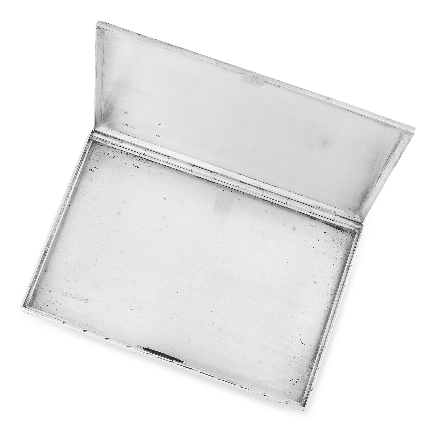 Los 64 - A VINTAGE SILVER CIGARETTE CASE, CARTIER 1950 the rectangular form decorated with diagonal linear