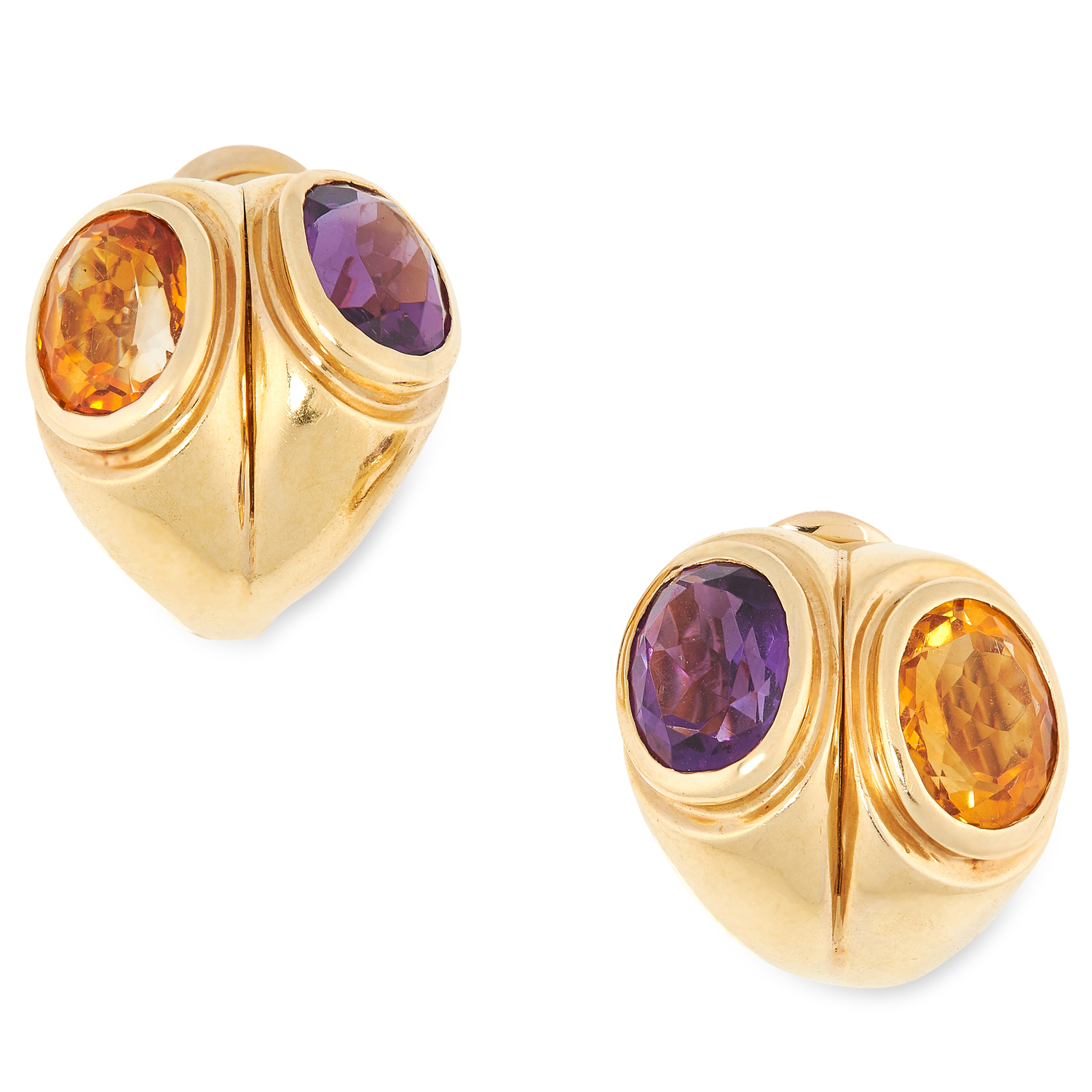 AN AMETHYST AND CITRINE RING AND EARRINGS SUITE, PARTLY BY TIFFANY & CO each set with oval cut - Image 4 of 5