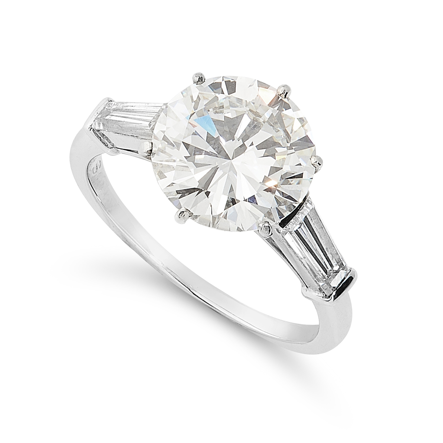 A 3.03 CARAT DIAMOND RING, VAN CLEEF AND ARPELS in platinum, set with a round cut diamond of 3.03 - Image 2 of 3