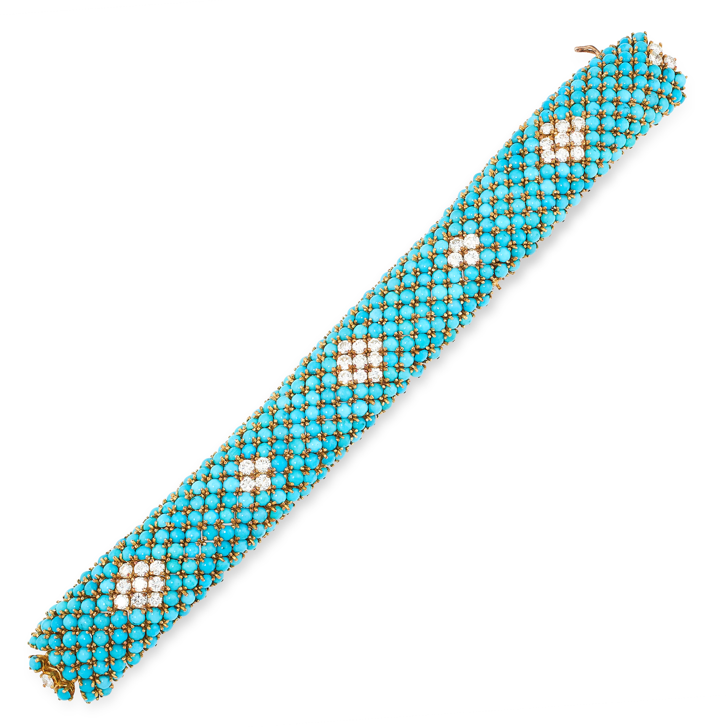 A VINTAGE TURQUOISE AND DIAMOND BRACELET, BEN ROSENFELD 1962 in 18ct yellow gold, jewelled all