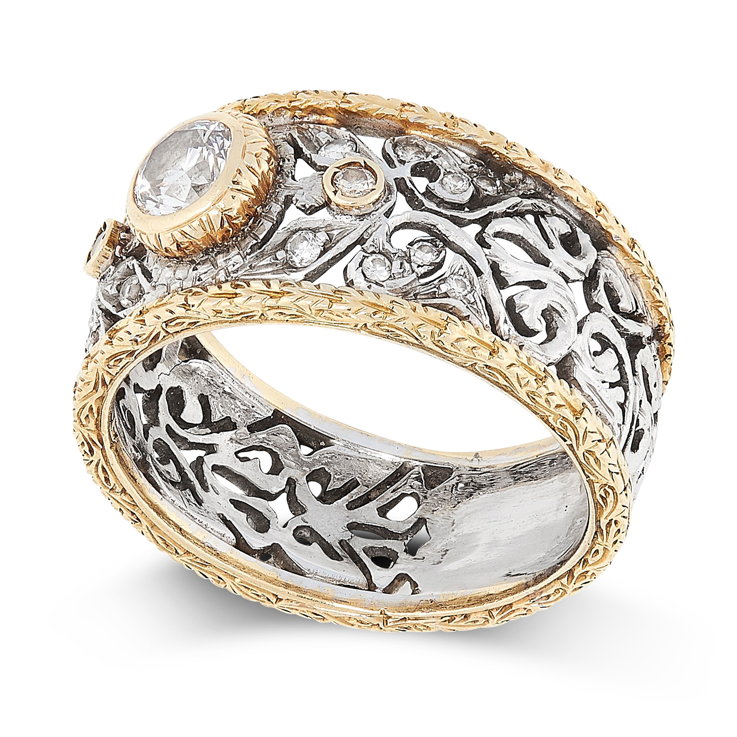 A VINTAGE DIAMOND DRESS RING, ATTR MARIO BUCCELLATI in 18ct gold, the open framework band - Image 2 of 2