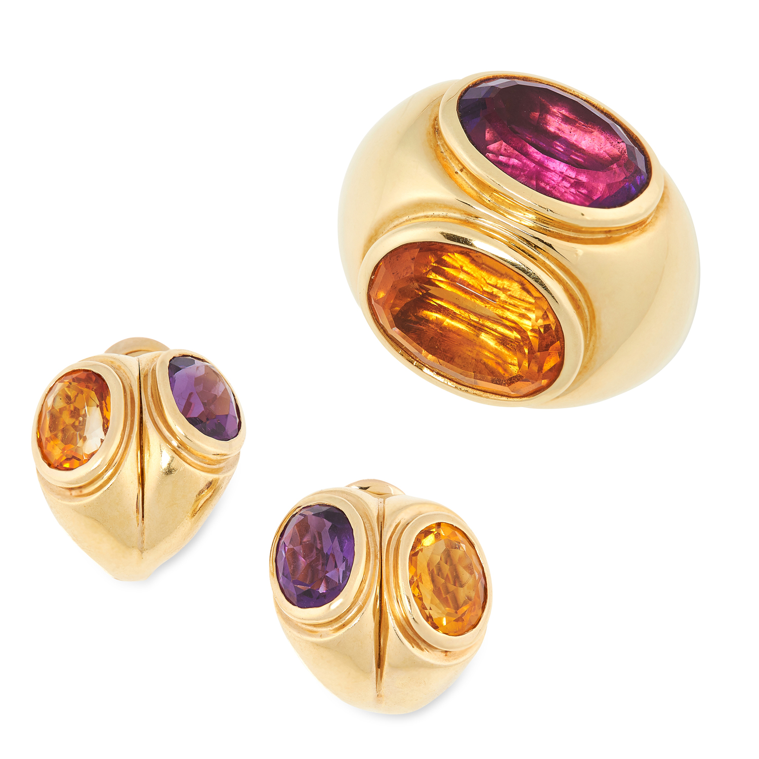 AN AMETHYST AND CITRINE RING AND EARRINGS SUITE, PARTLY BY TIFFANY & CO each set with oval cut