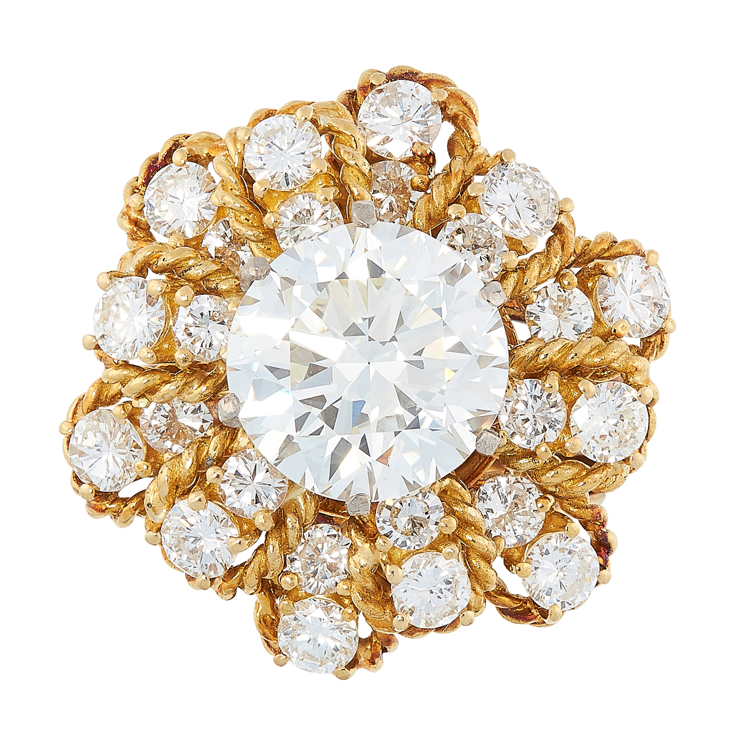 A 4.76 CARAT DIAMOND RING, BEN ROSENFELD 1964 in 18ct yellow gold, set with a central round cut