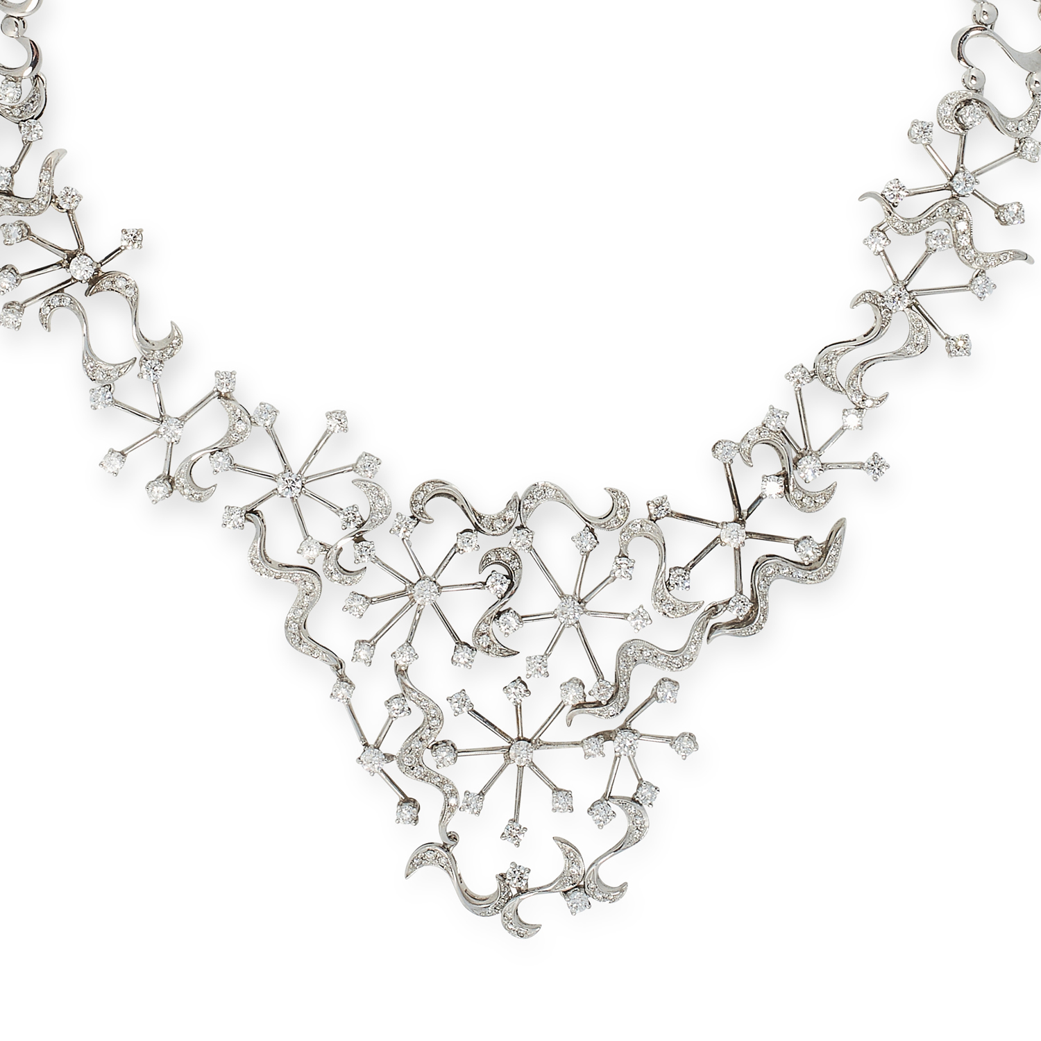 A DIAMOND COLLAR NECKLACE in 18ct white gold, in scrolling open framework design set with round - Image 2 of 2