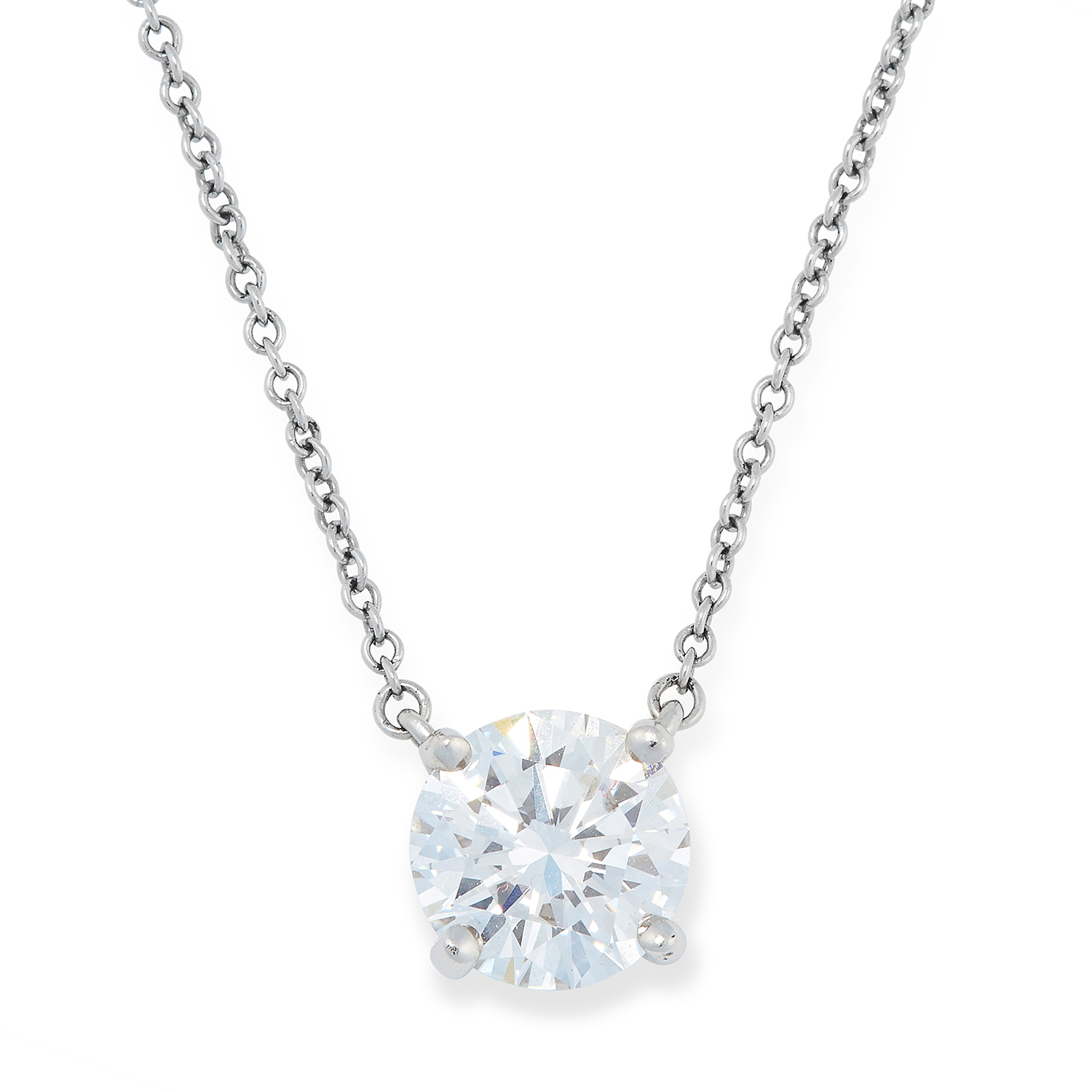 A 1.41 CARAT D VVS1 DIAMOND NECKLACE, TIFFANY & CO in platinum, set with a round modern brilliant