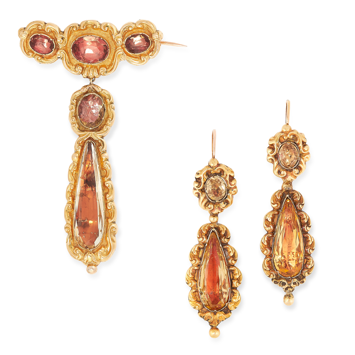 AN ANTIQUE GEORGIAN TOPAZ DEMI PARURE, 19TH CENTURY in high carat yellow gold, each set with oval