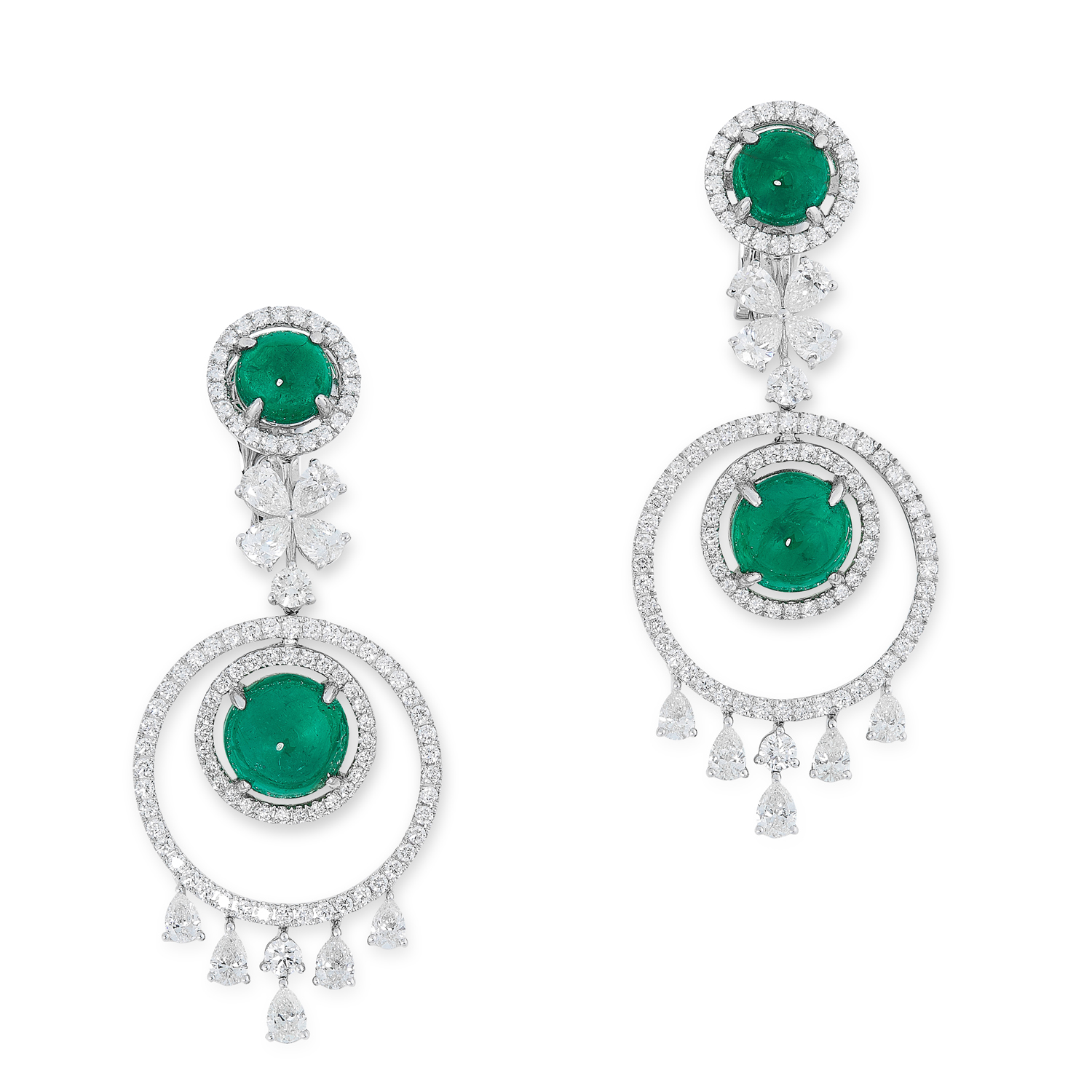 A PAIR OF EMERALD AND DIAMOND DROP EARRINGS each comprising of circular links set with round