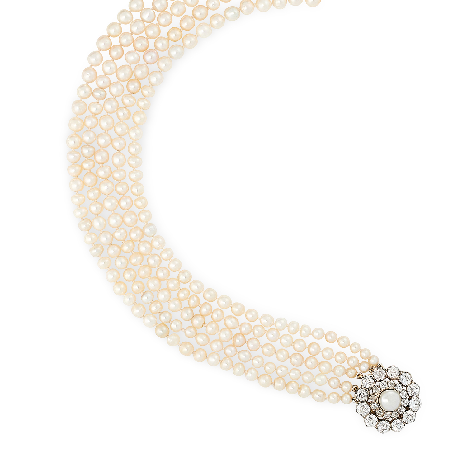 A NATURAL PEARL AND DIAMOND FIVE ROW NECKLACE in high carat yellow gold, comprising five rows of - Image 2 of 2