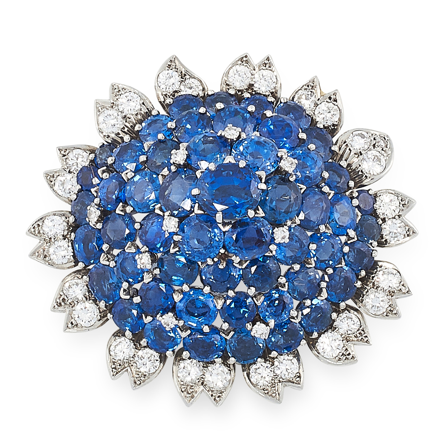 A VINTAGE SAPPHIRE AND DIAMOND BROOCH, CARTIER CIRCA 1960 in 18ct white gold, set with a cluster
