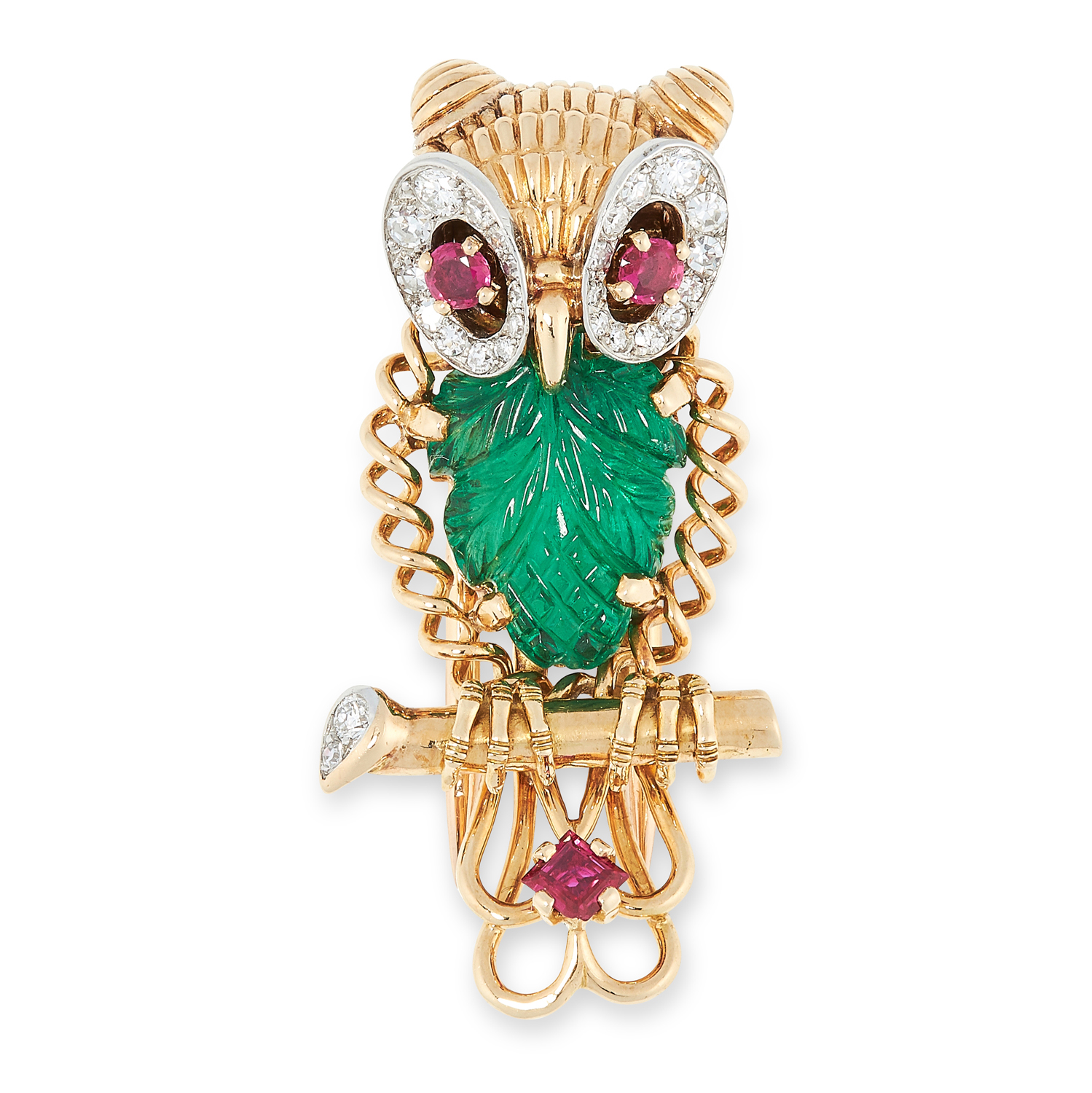 A VINTAGE EMERALD, RUBY AND DIAMOND OWL BROOCH, CARTIER CIRCA 1950 in 18ct yellow gold, designed