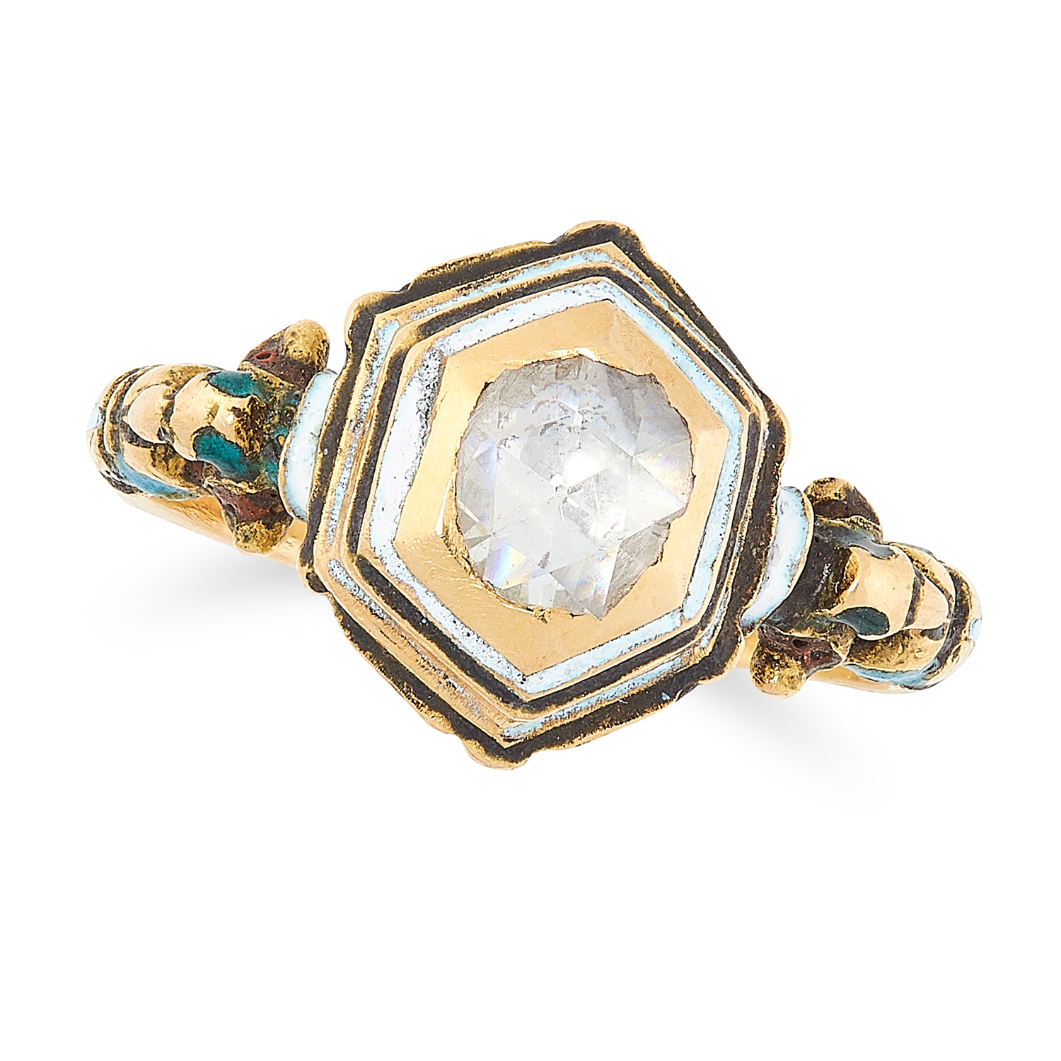 AN ANTIQUE DIAMOND AND ENAMEL RING, 17TH OR 18TH CENTURY in high carat yellow gold, set with a