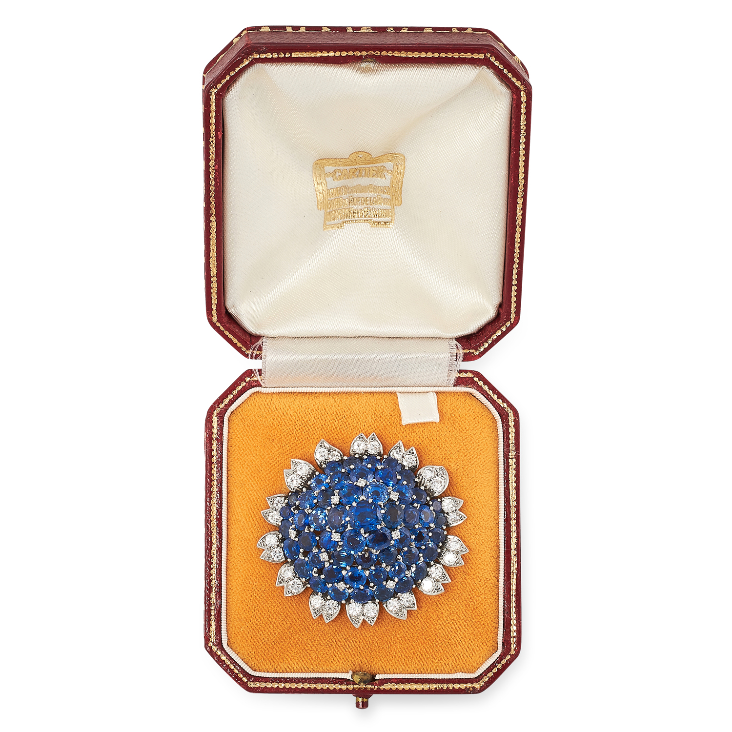 A VINTAGE SAPPHIRE AND DIAMOND BROOCH, CARTIER CIRCA 1960 in 18ct white gold, set with a cluster - Image 2 of 2