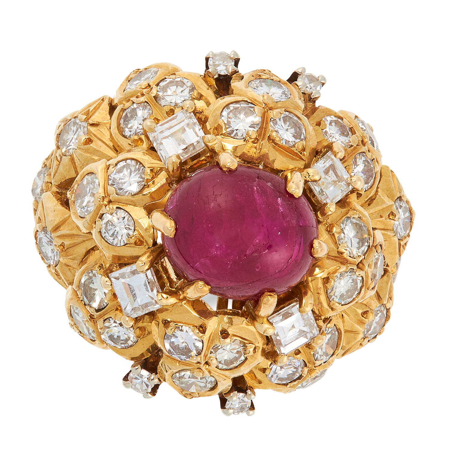 A VINTAGE RUBY AND DIAMOND RING, BEN ROSENFELD 1974 in 18ct yellow gold, set with an oval cabochon - Image 2 of 2