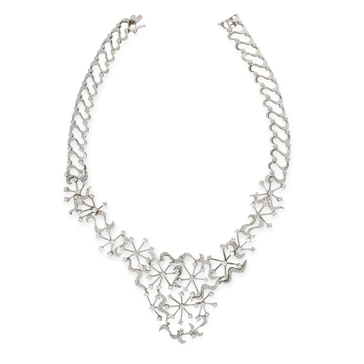 A DIAMOND COLLAR NECKLACE in 18ct white gold, in scrolling open framework design set with round