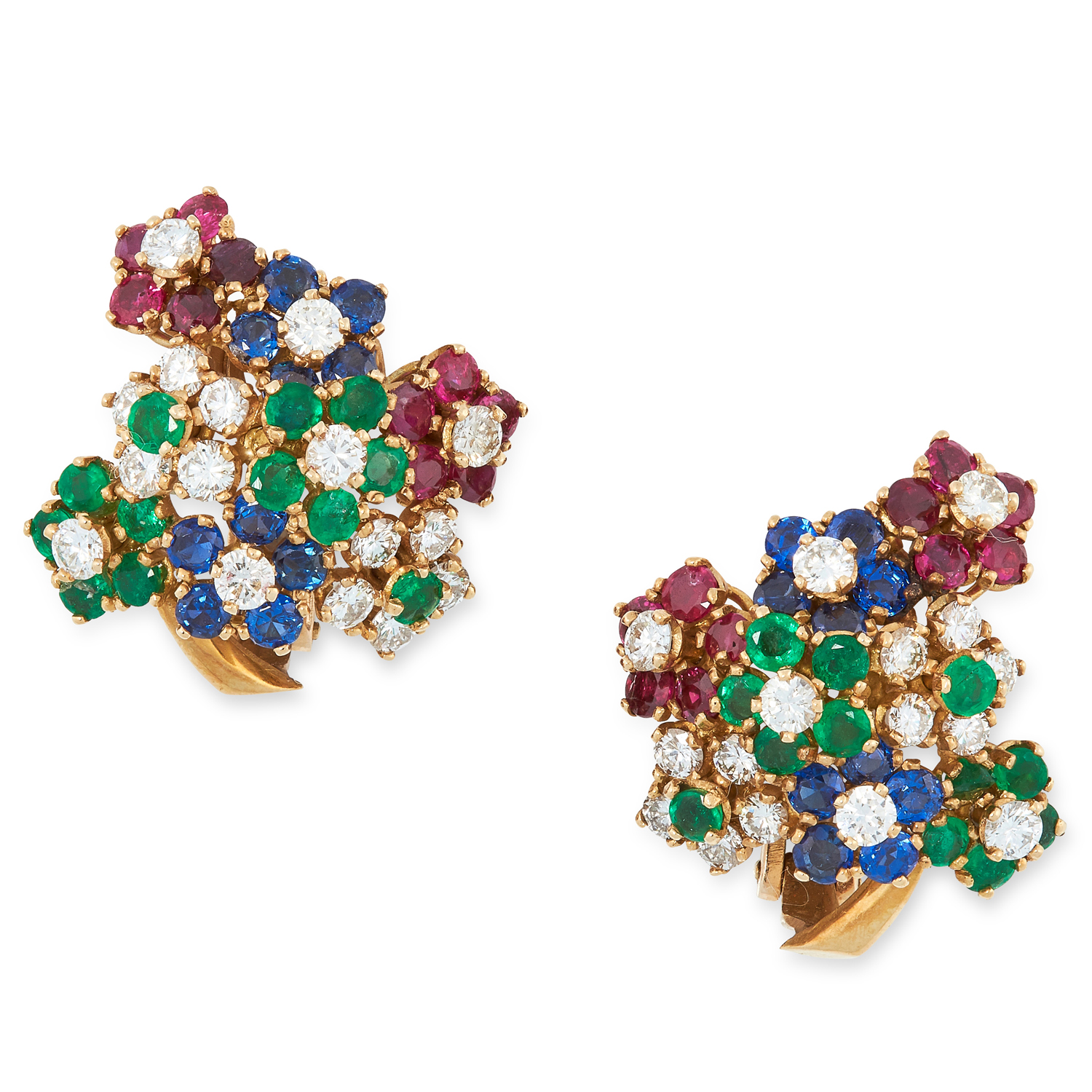 A PAIR OF VINTAGE RUBY, SAPPHIRE, EMERALD AND DIAMOND CLIP EARRINGS, 1960s in high carat yellow