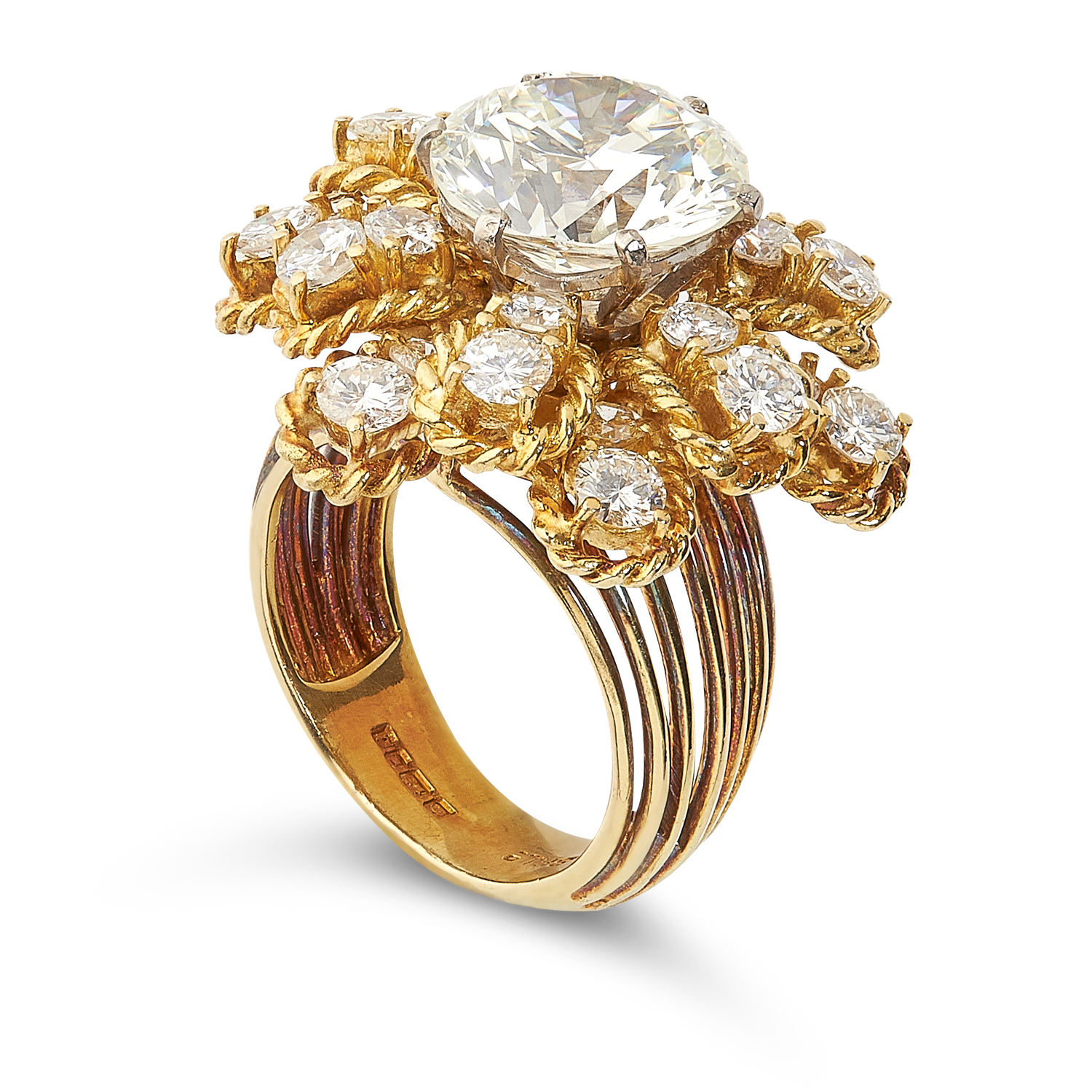 A 4.76 CARAT DIAMOND RING, BEN ROSENFELD 1964 in 18ct yellow gold, set with a central round cut - Image 2 of 2