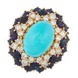 A VINTAGE TURQUOISE, SAPPHIRE AND DIAMOND RING, BEN ROSENFELD 1972 in 18ct yellow gold, set with
