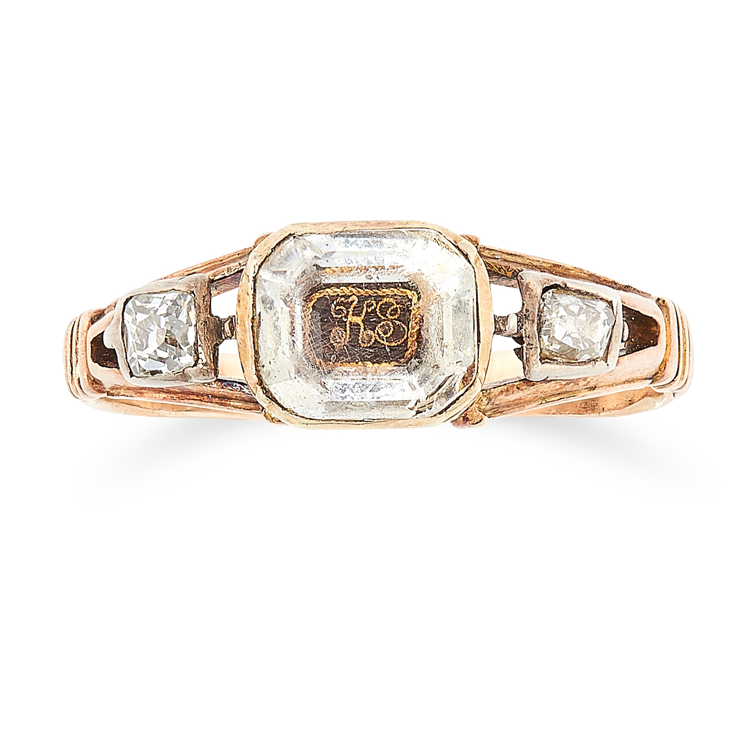 AN ANTIQUE STUART CRYSTAL AND DIAMOND MOURNING RING, 18TH CENTURY in high carat yellow gold, set