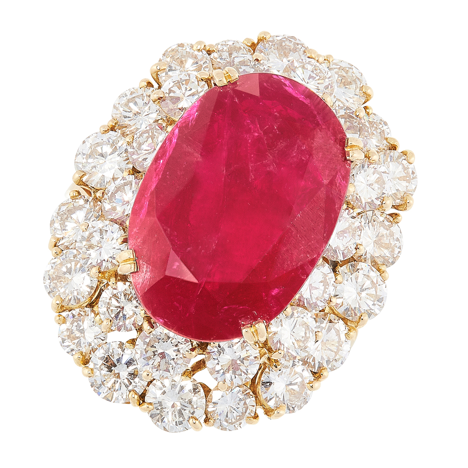 A 10.90 CARAT BURMA NO HEAT RUBY AND DIAMOND CLUSTER RING in 18ct yellow gold, comprising of an oval