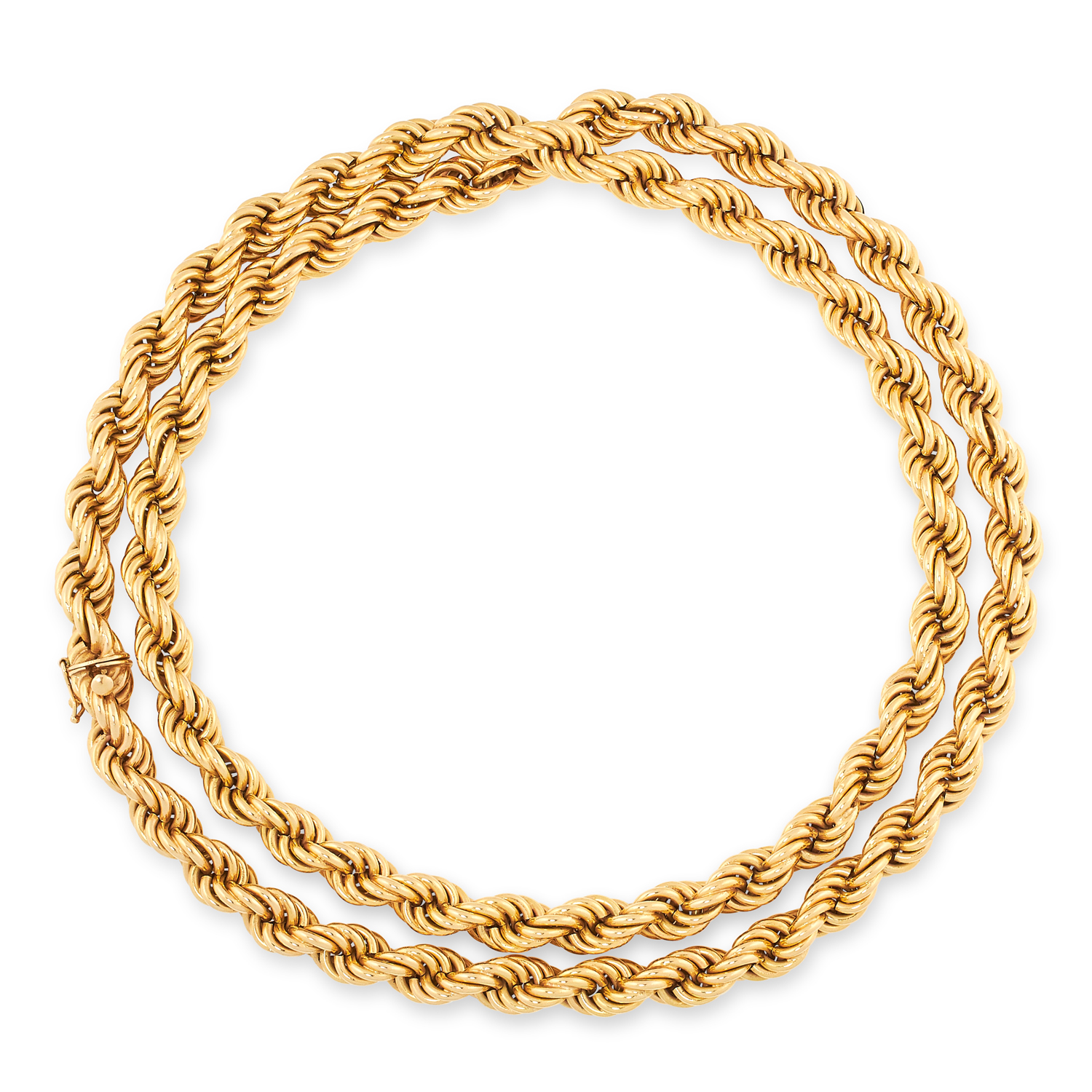 A VINTAGE ROPE TWIST CHAIN NECKLACE designed as interlocking links designed as a twisted rope, tests
