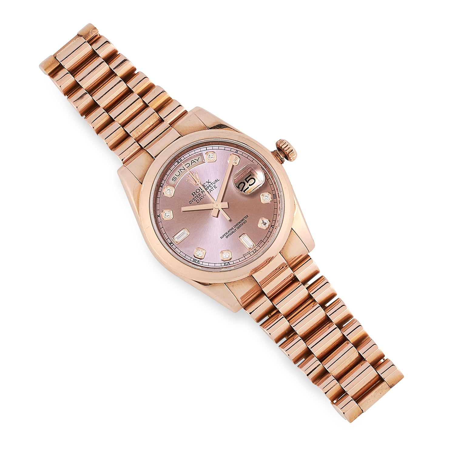 A LADIES OYSTER PERPETUAL DAY-DATE WRISTWATCH, ROLEX in 18ct rose gold, the rosé coloured dial,