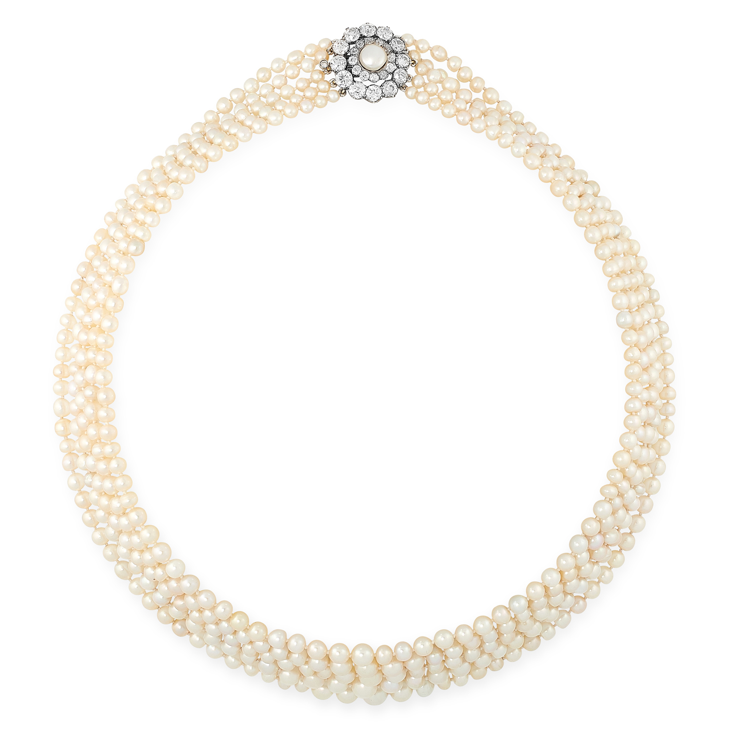 A NATURAL PEARL AND DIAMOND FIVE ROW NECKLACE in high carat yellow gold, comprising five rows of