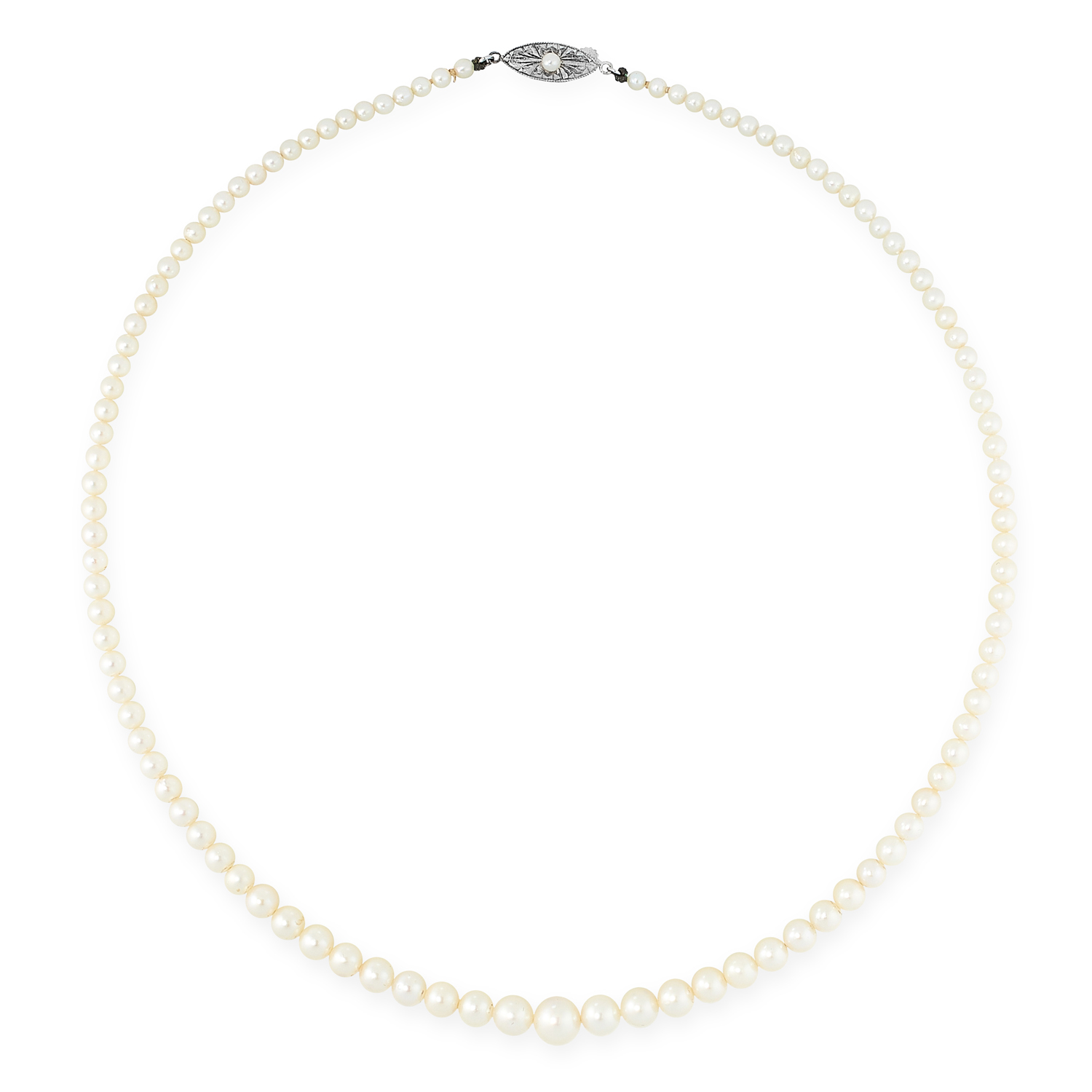 A PEARL NECKLACE comprising a single row of pearls ranging 7.3-3.1mm, on a pearl set clasp, 46.0cm /