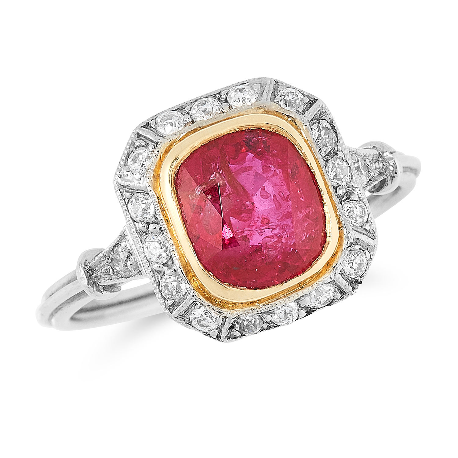 A 2.33 CARAT BURMA NO HEAT RUBY AND DIAMOND CLUSTER RING set with a cushion cut ruby of 2.33