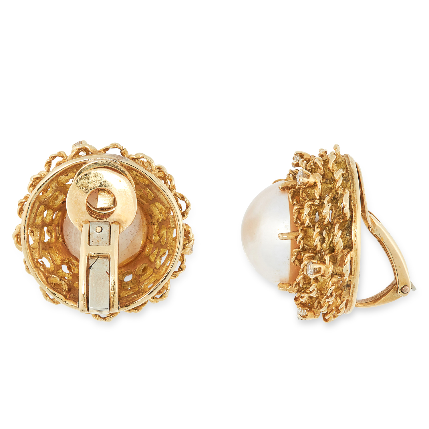 A PAIR OF VINTAGE PEARL AND DIAMOND EARRINGS, 1960s in high carat yellow gold, each set with a - Image 2 of 2