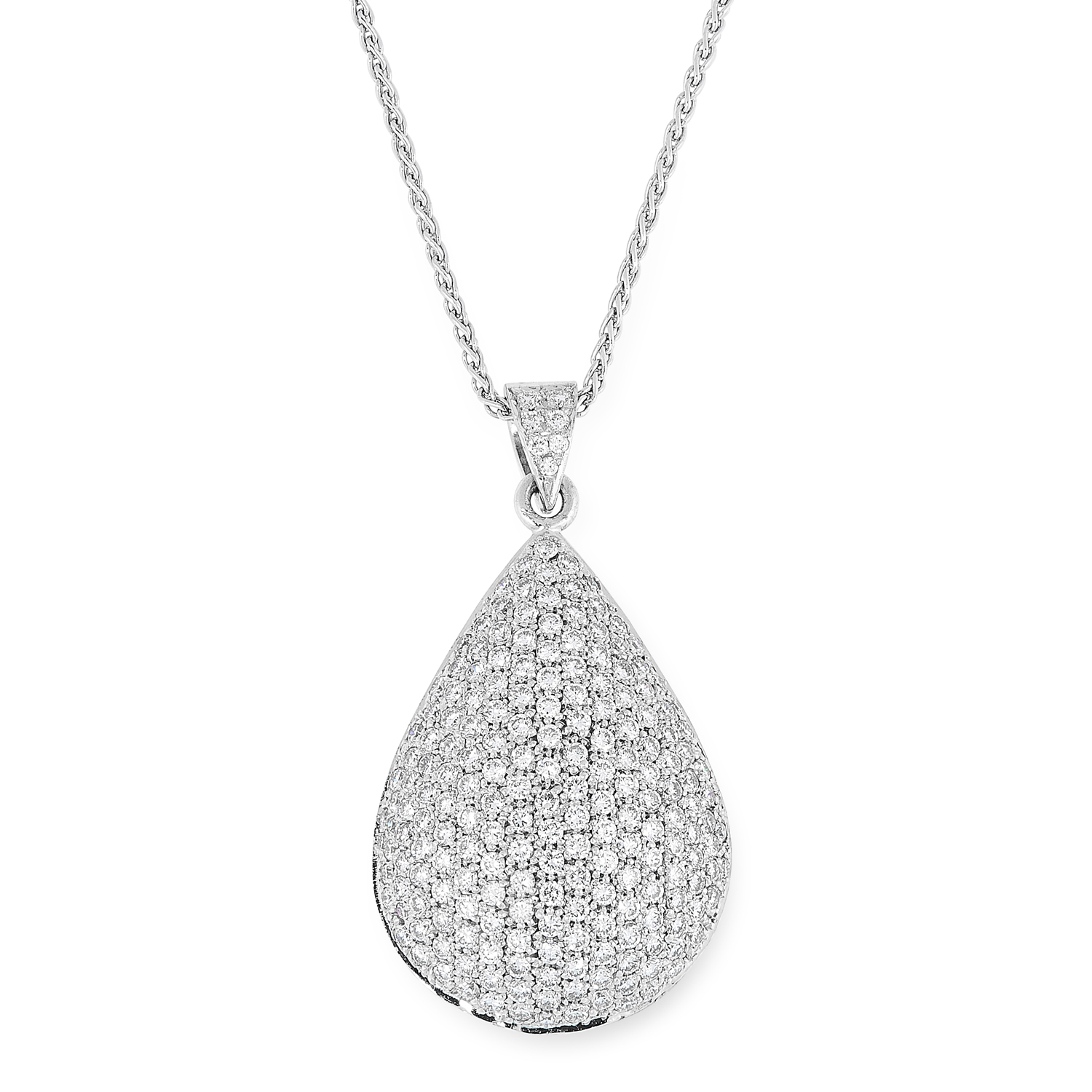 A DIAMOND PENDANT AND EARRINGS SUITE comprising a pair of earrings, pendant and chain, in teardrop - Image 2 of 4