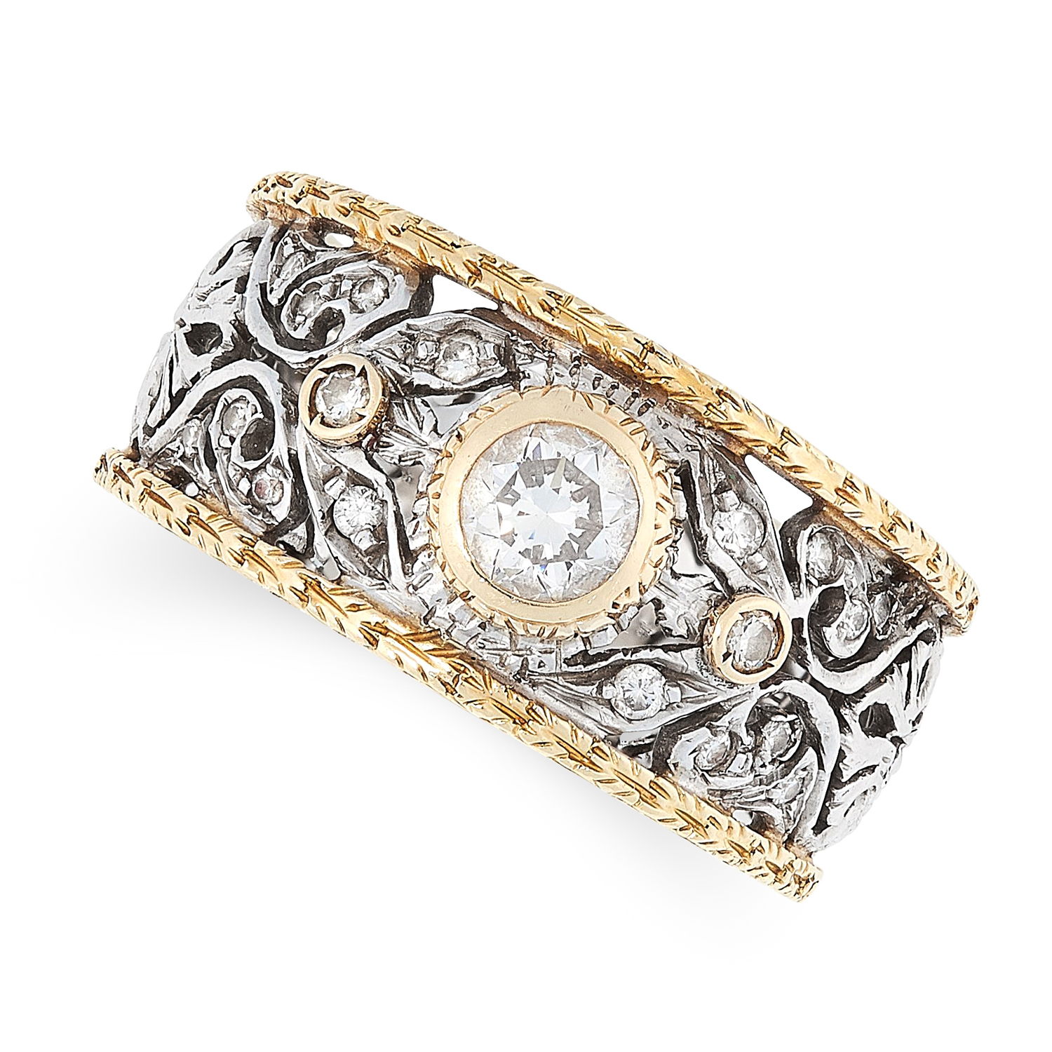 A VINTAGE DIAMOND DRESS RING, ATTR MARIO BUCCELLATI in 18ct gold, the open framework band