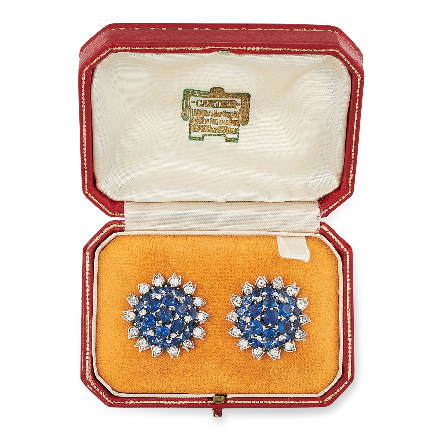 A PAIR OF VINTAGE SAPPHIRE AND DIAMOND EARRINGS, CARTIER CIRCA 1960 in 18ct white gold, each set - Image 2 of 2