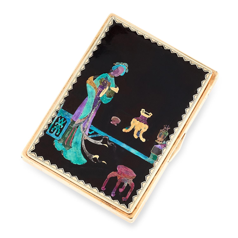 AN ANTIQUE LACQUE BURGAUTÉ CHINOISERIE VANITY CASE, CARTIER CIRCA 1920 in high carat yellow gold, of