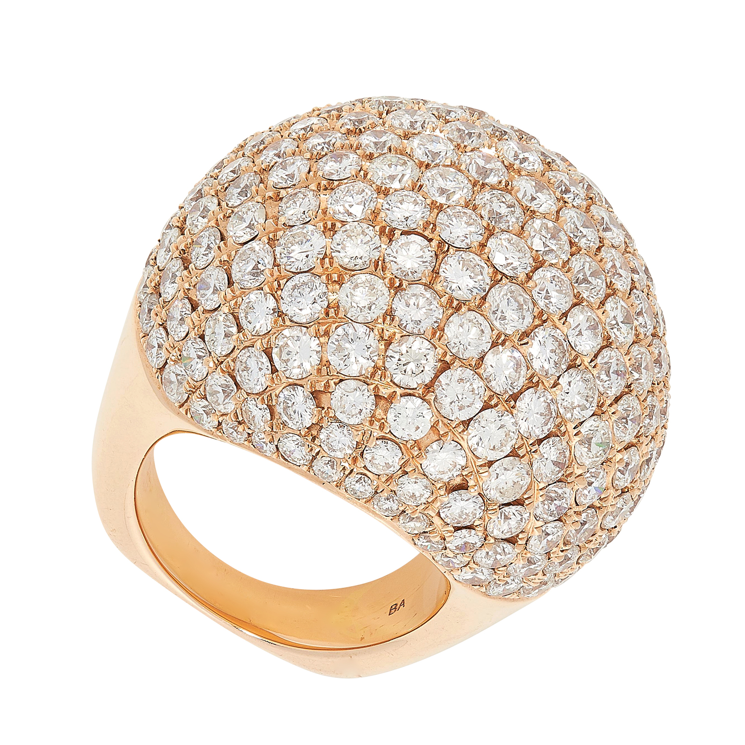 A DIAMOND COCKTAIL RING of bombe design, allover pave set with round cut diamonds totalling 14.0- - Image 2 of 2