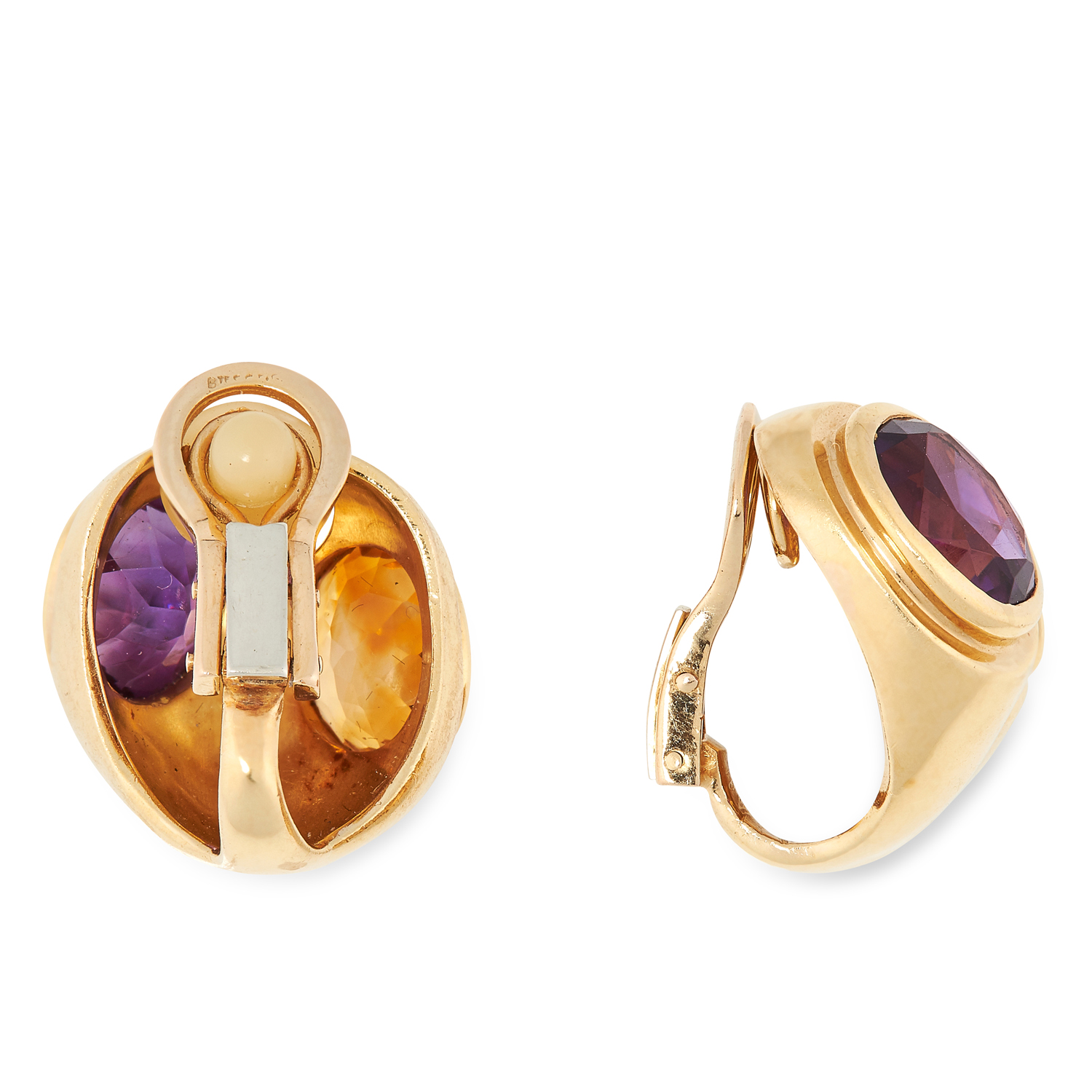 AN AMETHYST AND CITRINE RING AND EARRINGS SUITE, PARTLY BY TIFFANY & CO each set with oval cut - Image 5 of 5