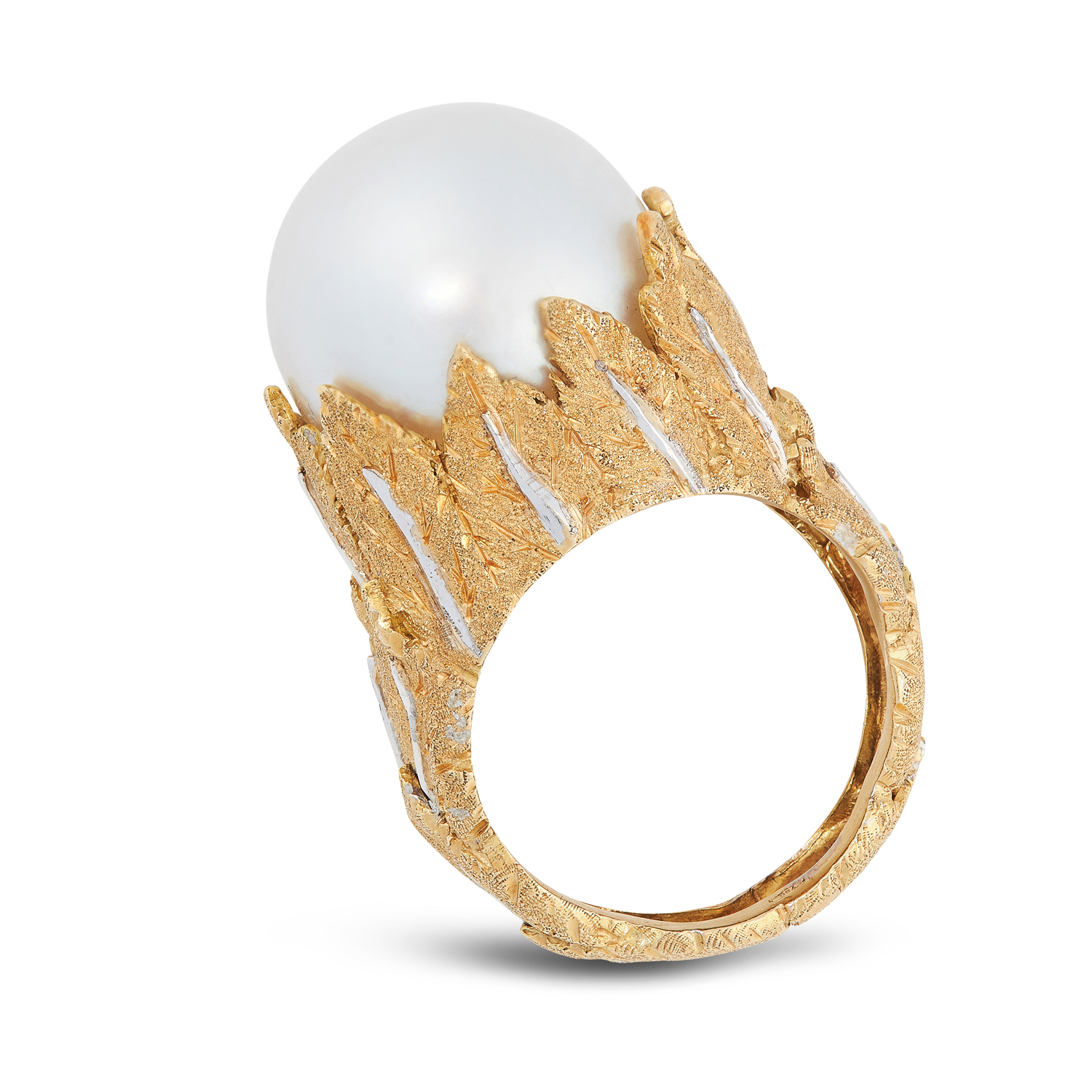 A VINTAGE PEARL DRESS RING, BUCCELLATI in 18ct yellow gold, set with a cultured pearl of 16.0mm, - Image 2 of 2