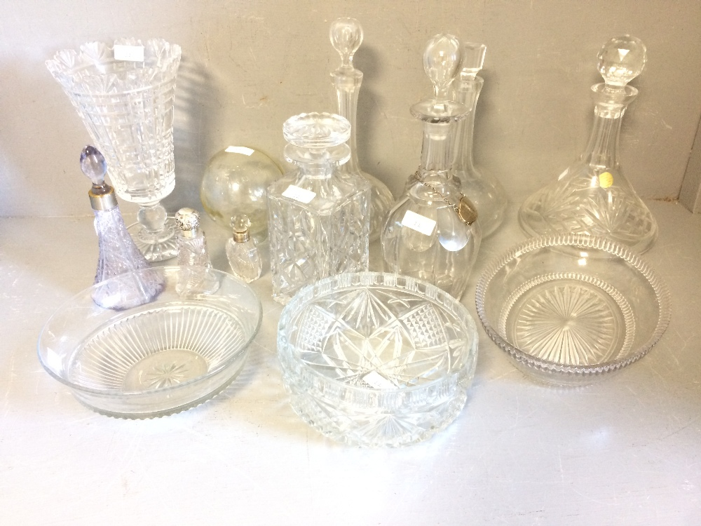Lot 22 - A number of decanters, glass bowls, vases etc