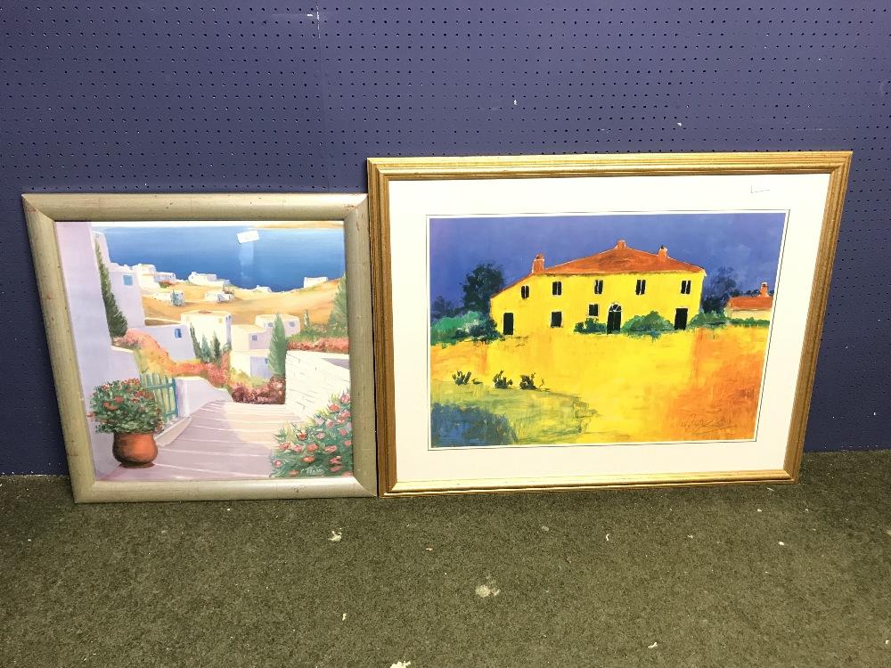 Lot 463 - Kruse Kolk studio print 'Maison En Provence' & mixed method 'Coastal Scene' various sizes