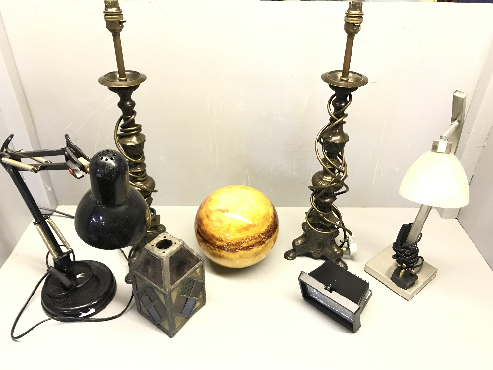 Lot 79 - Various lamps & glass dome
