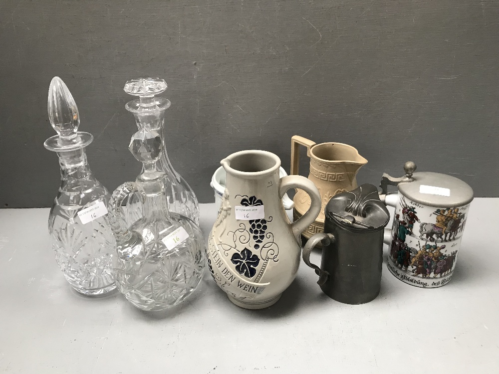 Lot 16 - 3 Cut glass decanters, 2 steins & various other items