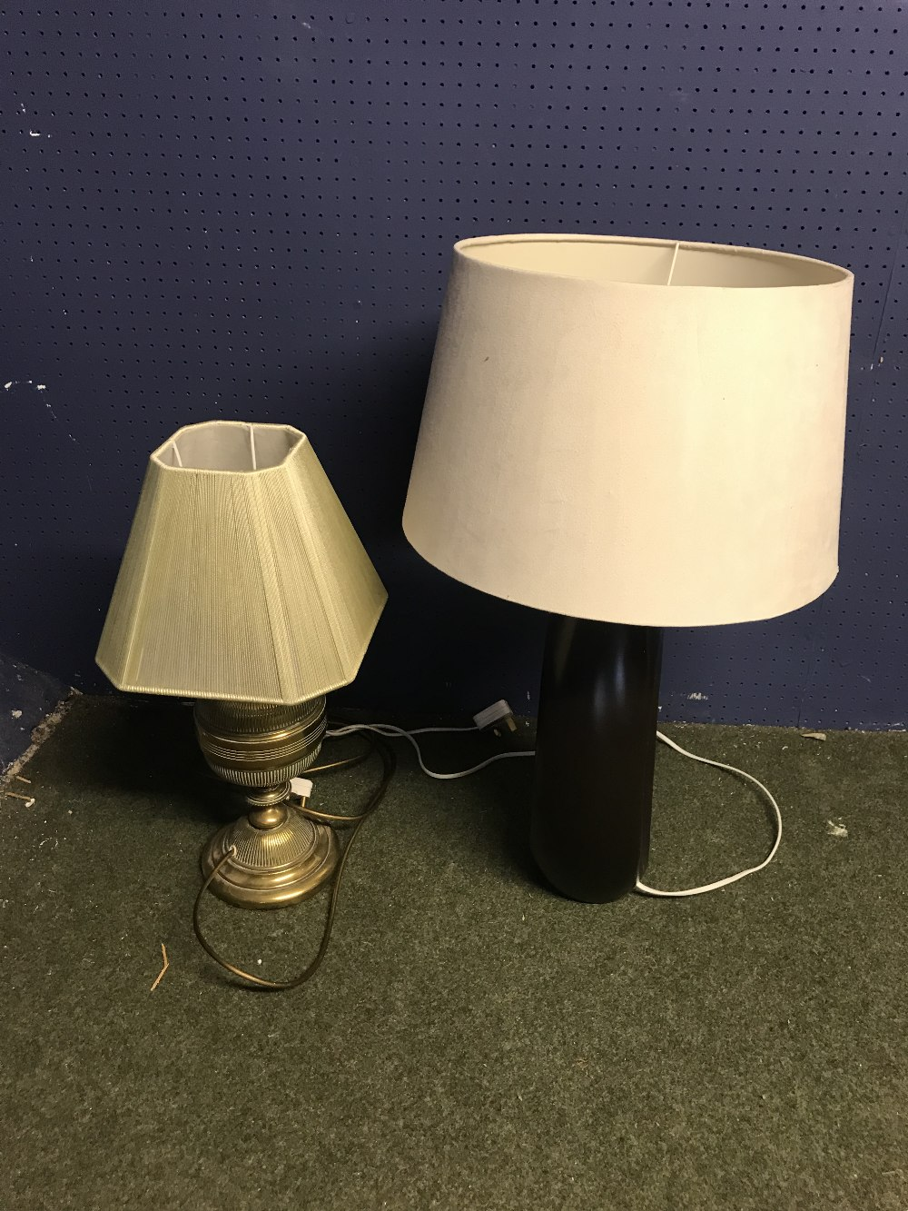 Lot 45 - 4 Modern lamps & shades & converted oil lamp with shades