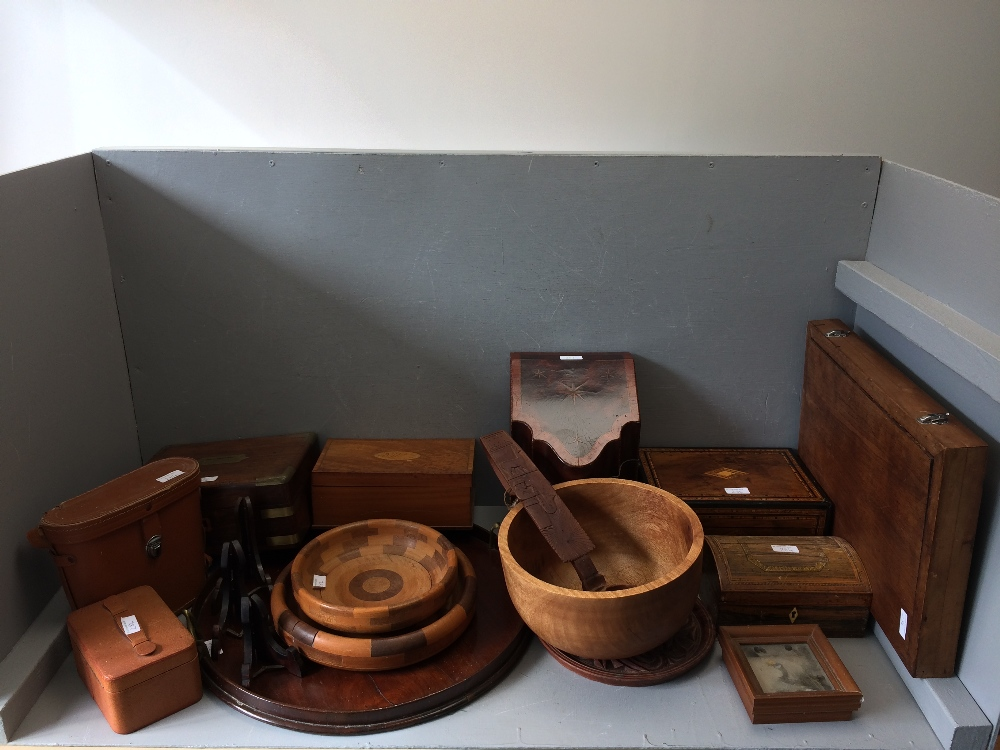 Lot 284 - Mahogany & line inlaid desk tidy, qty of various antique wooden, brass bound & inlaid boxes, qty